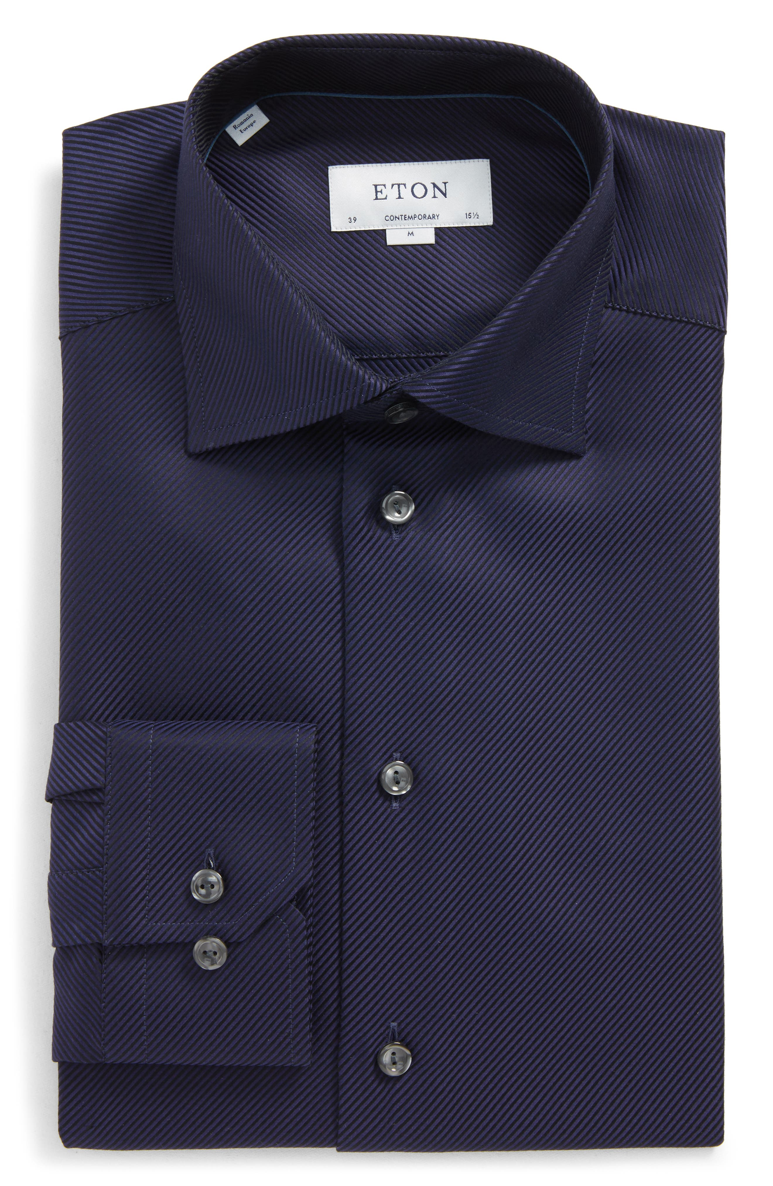 Eton Contemporary Fit Houndstooth Dress Shirt
