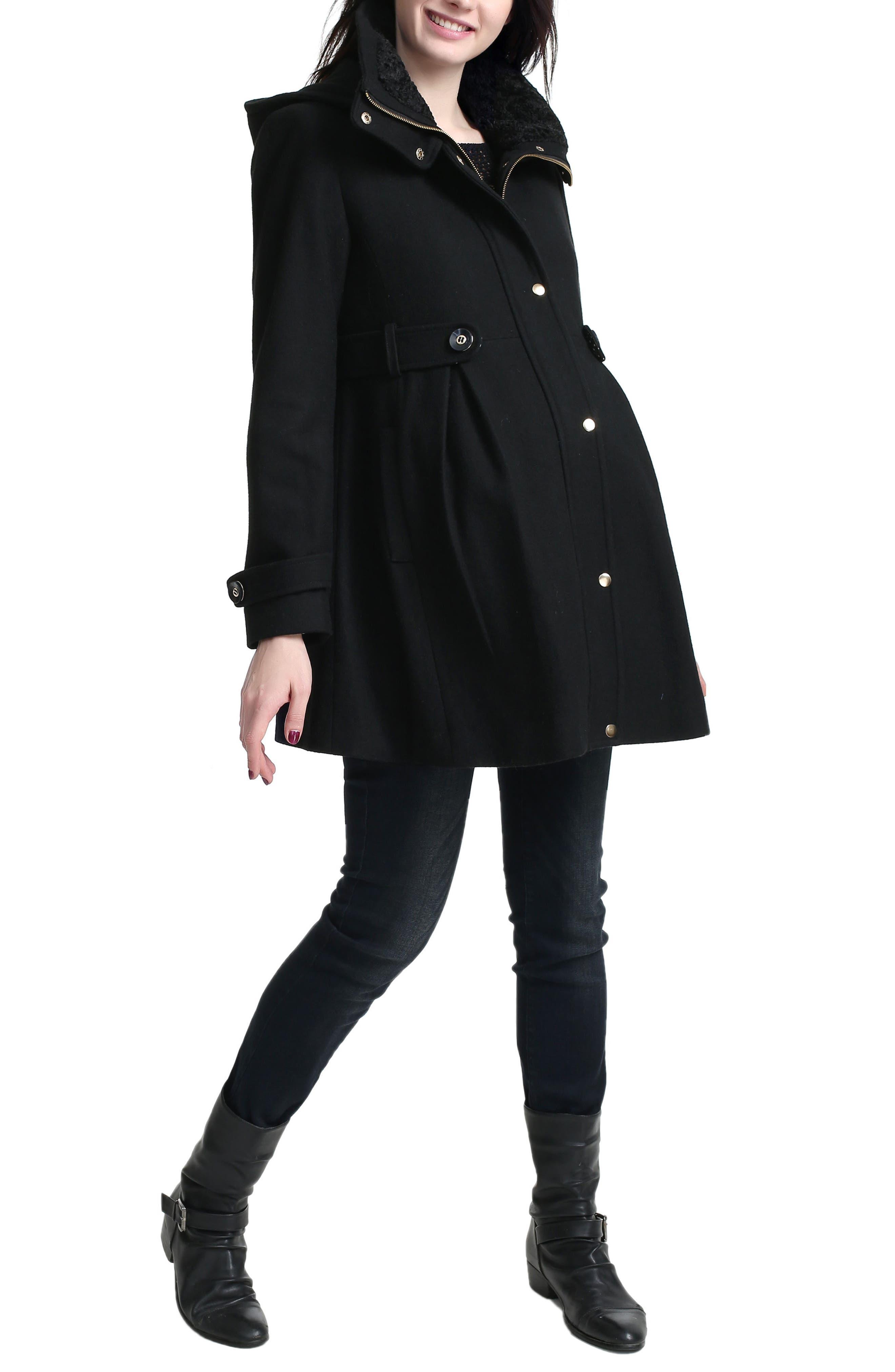 Olivia Wool Blend Maternity Coat,                             Alternate thumbnail 3, color,                             Black
