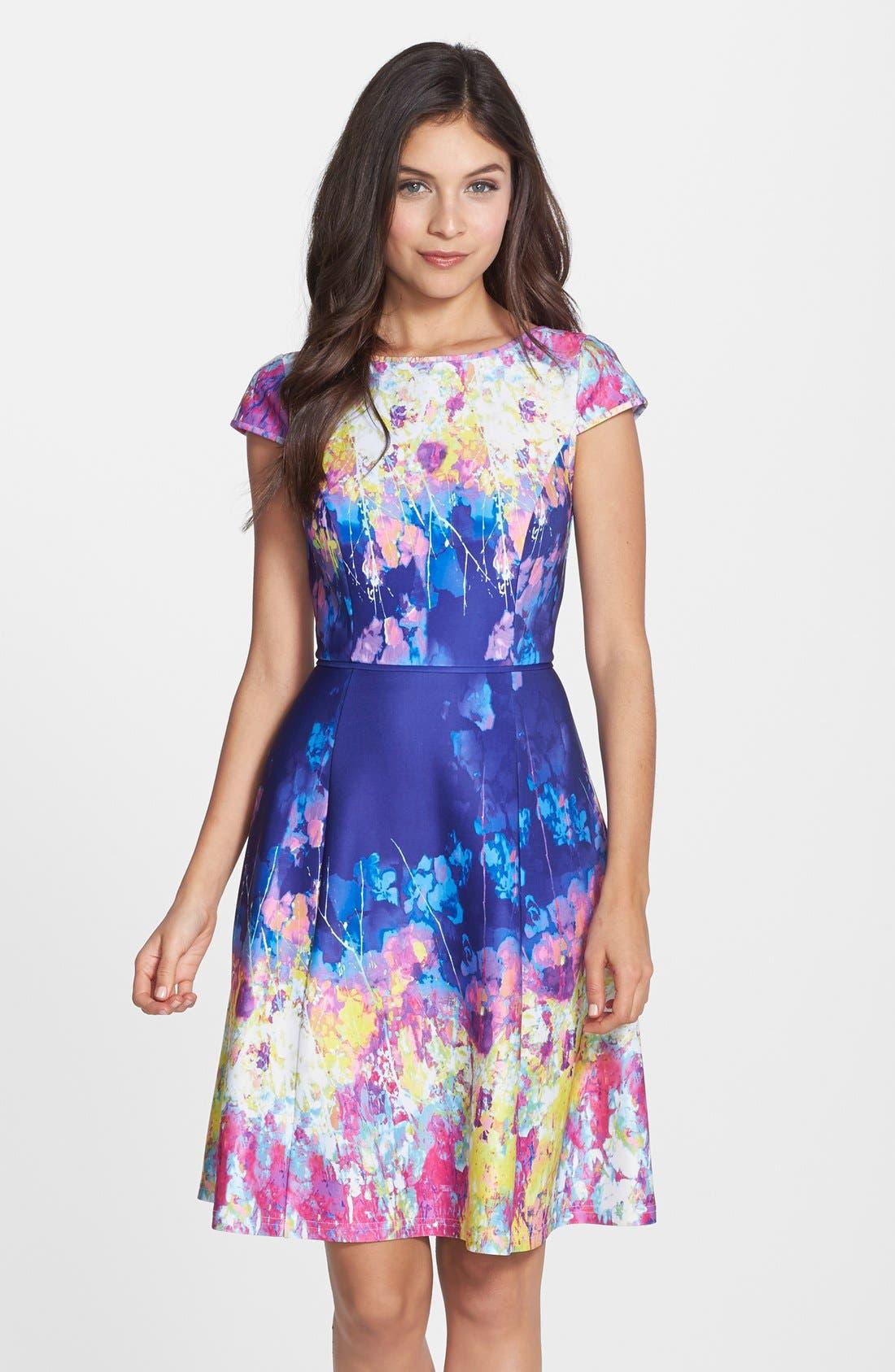 Main Image - Adrianna Papell Floral Print Scuba Fit & Flare Dress (Regular & Petite)