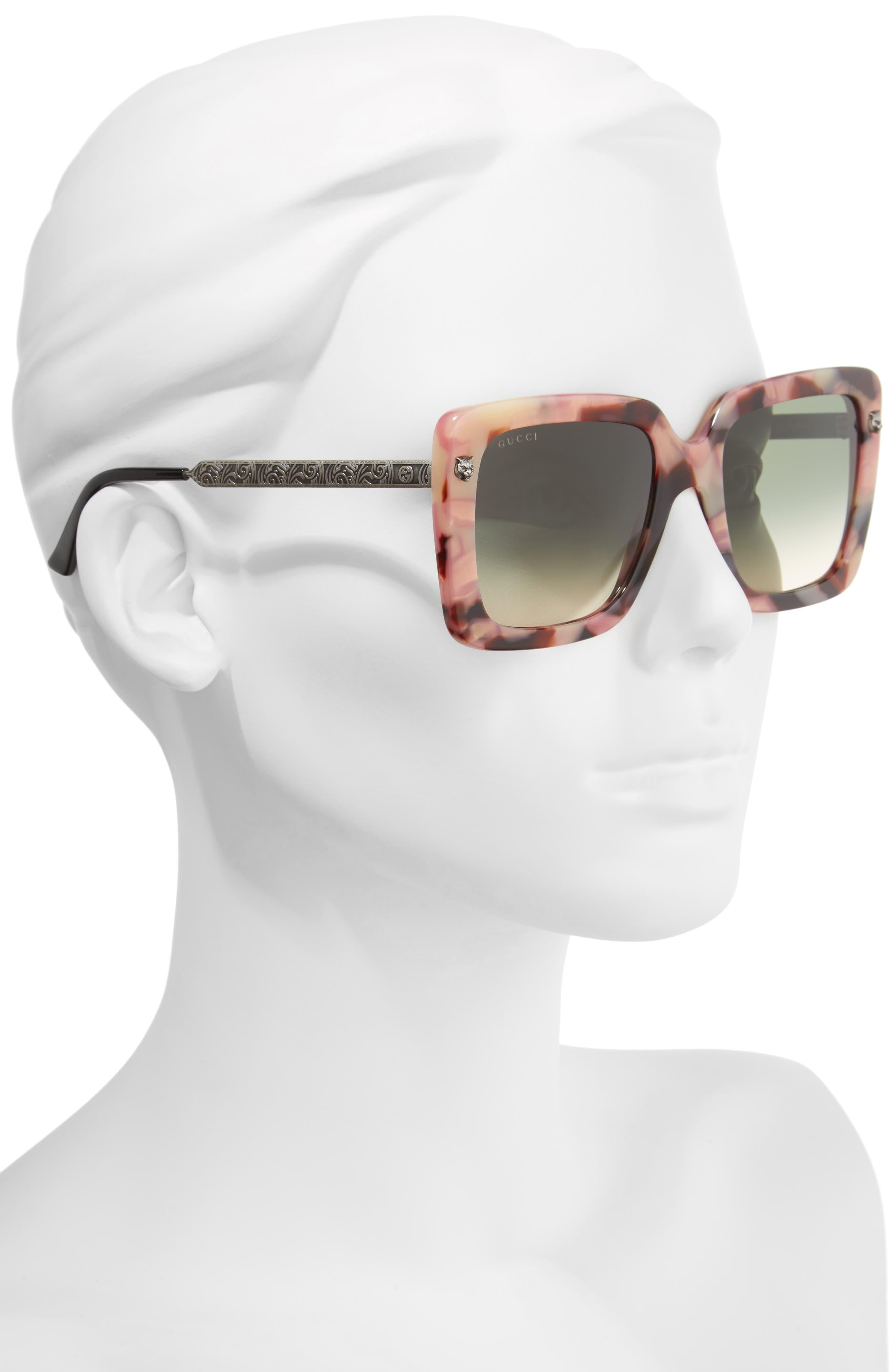 53mm Square Sunglasses,                             Alternate thumbnail 2, color,                             Havana