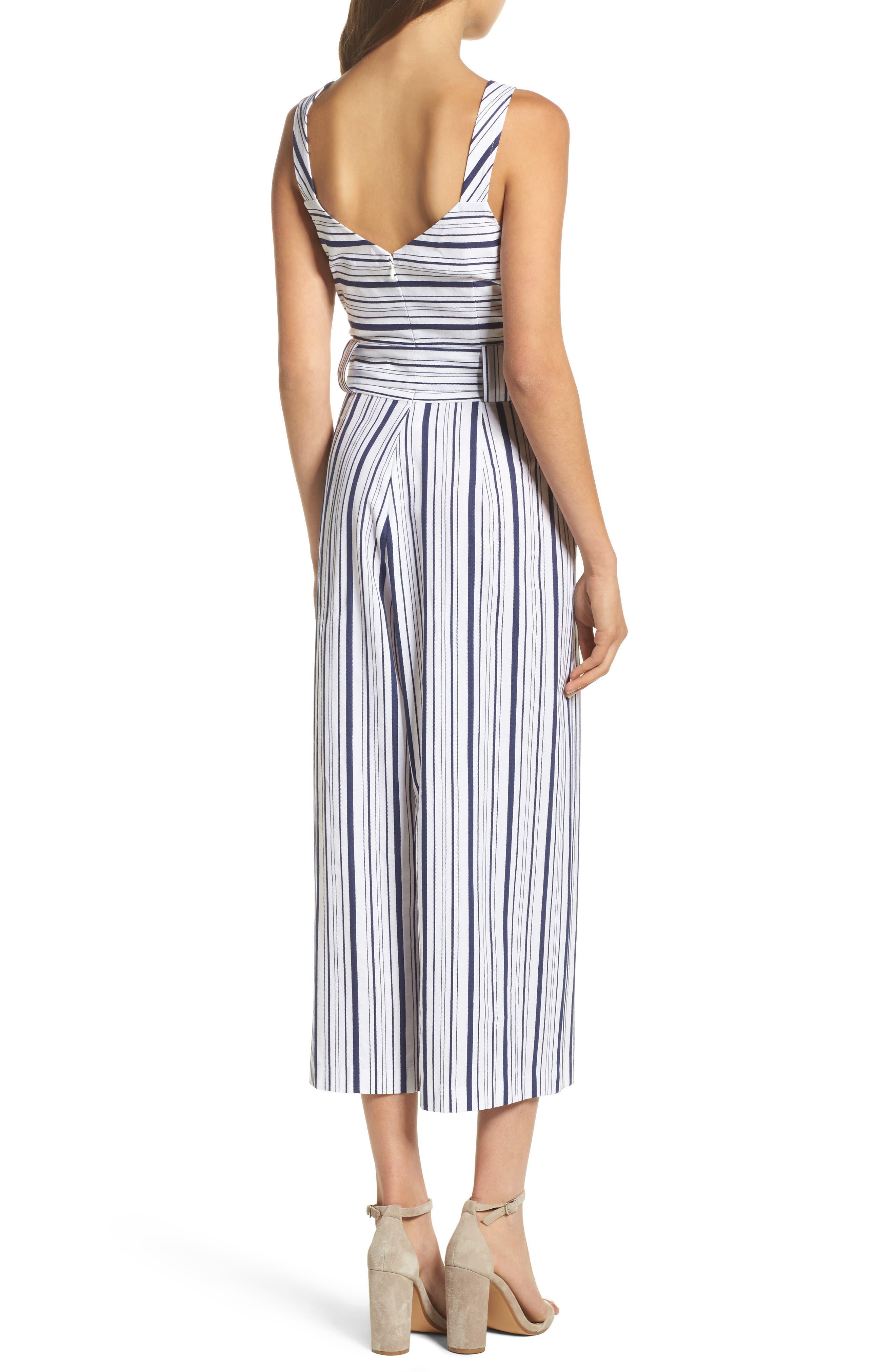 Stripe Culotte Jumpsuit,                             Alternate thumbnail 2, color,                             Blue/ White Ella Stripe