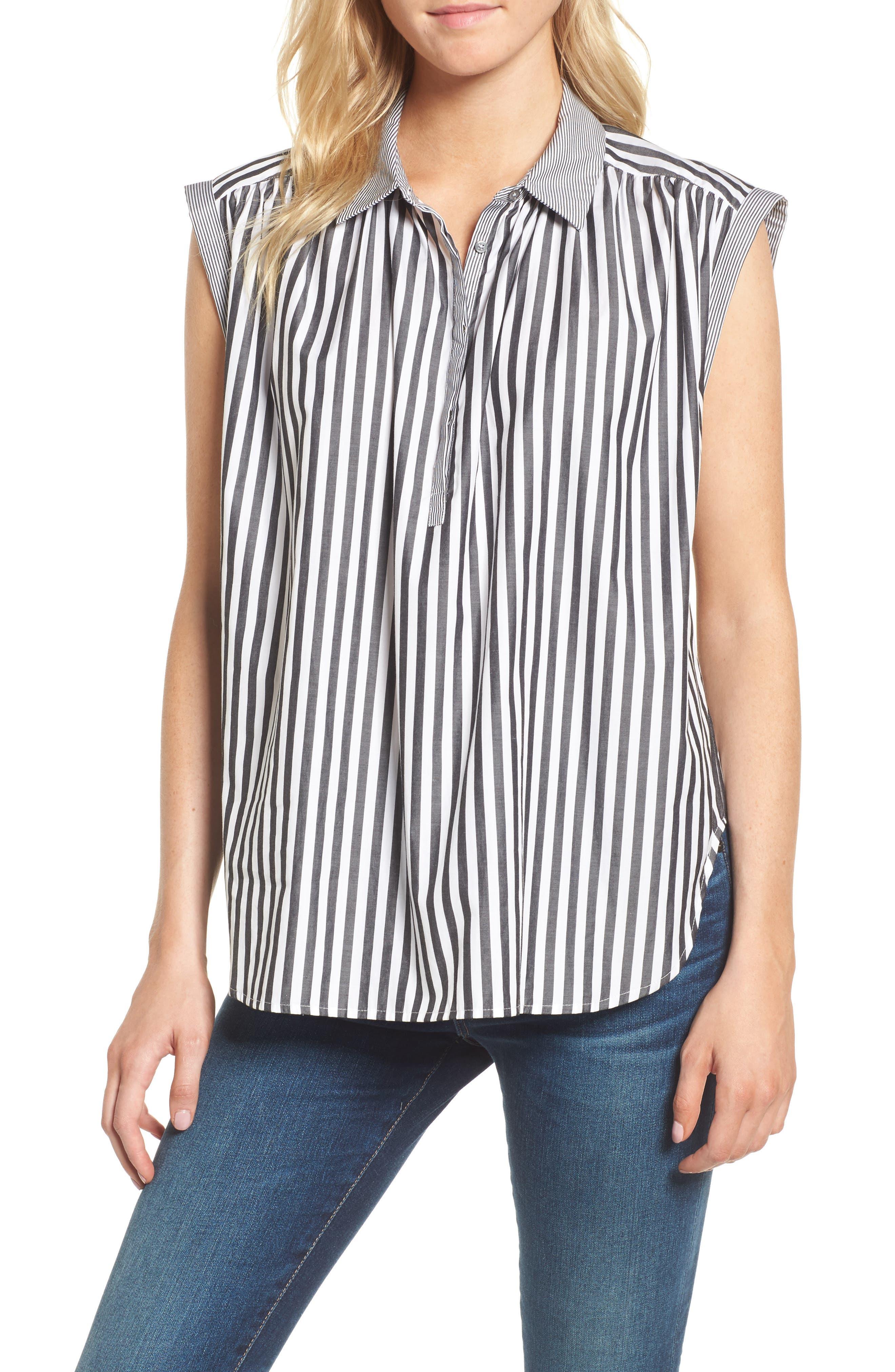 Abigail Stripe Top,                         Main,                         color, Black/ White