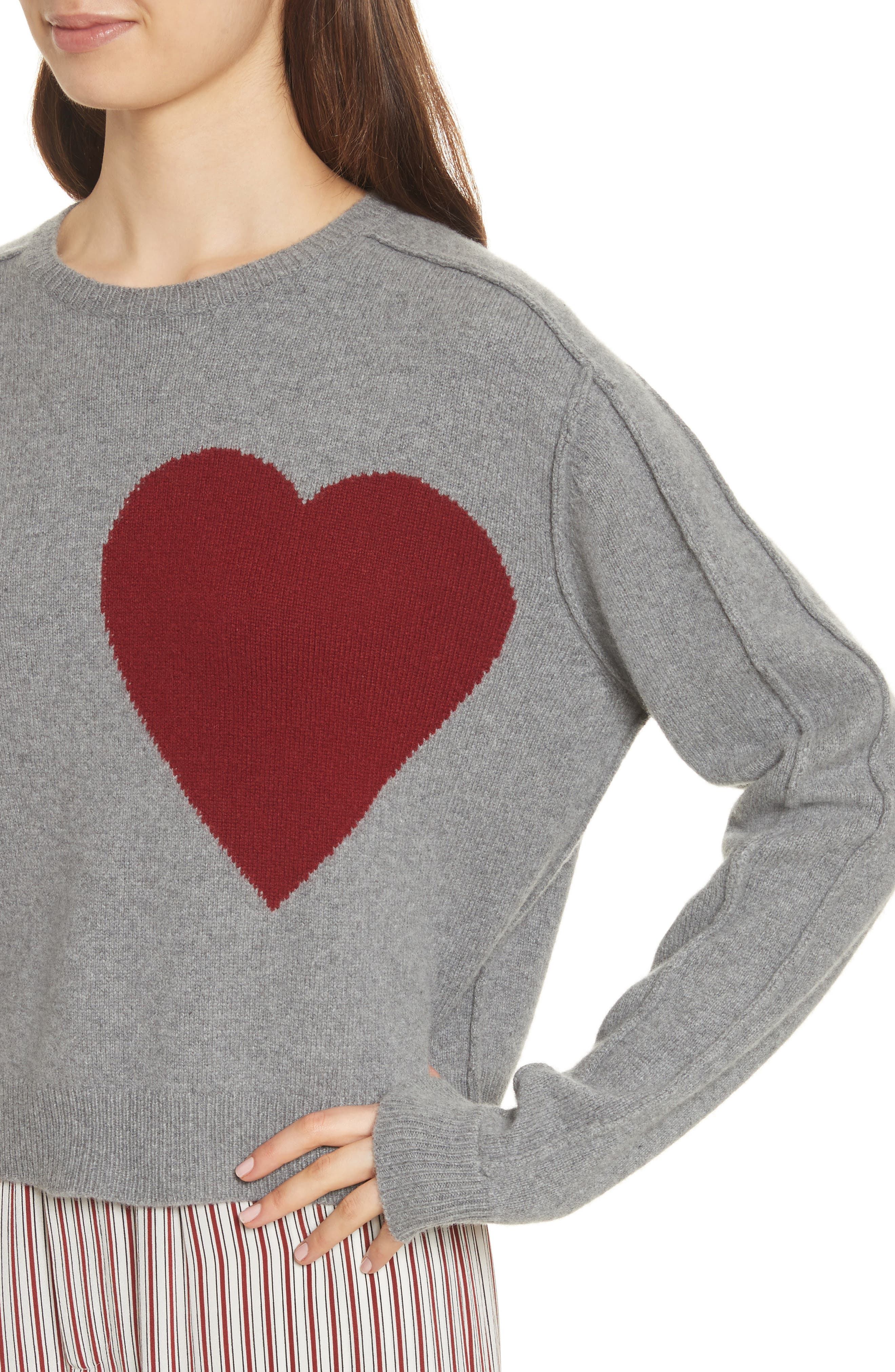 Heart Wool & Cashmere Sweater,                             Alternate thumbnail 6, color,                             Grey