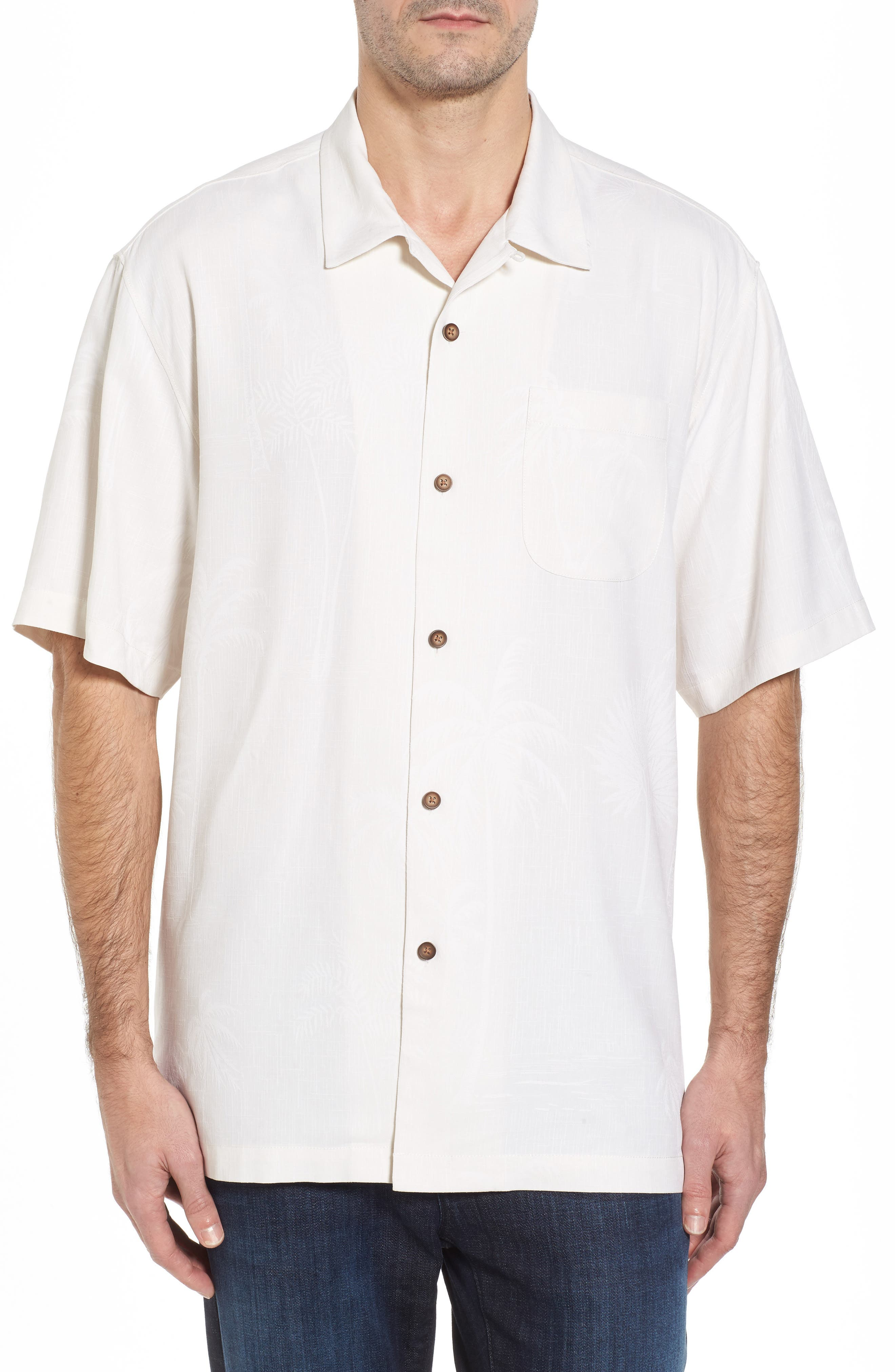 Alternate Image 1 Selected - Tommy Bahama Offshore Sails Silk Camp Shirt