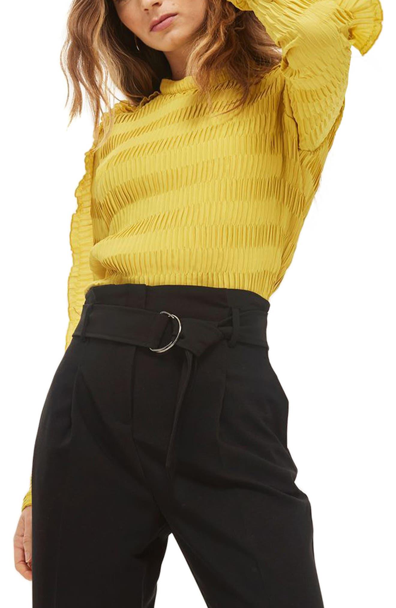 Belted Paperbag Peg Trousers,                             Alternate thumbnail 3, color,                             Black