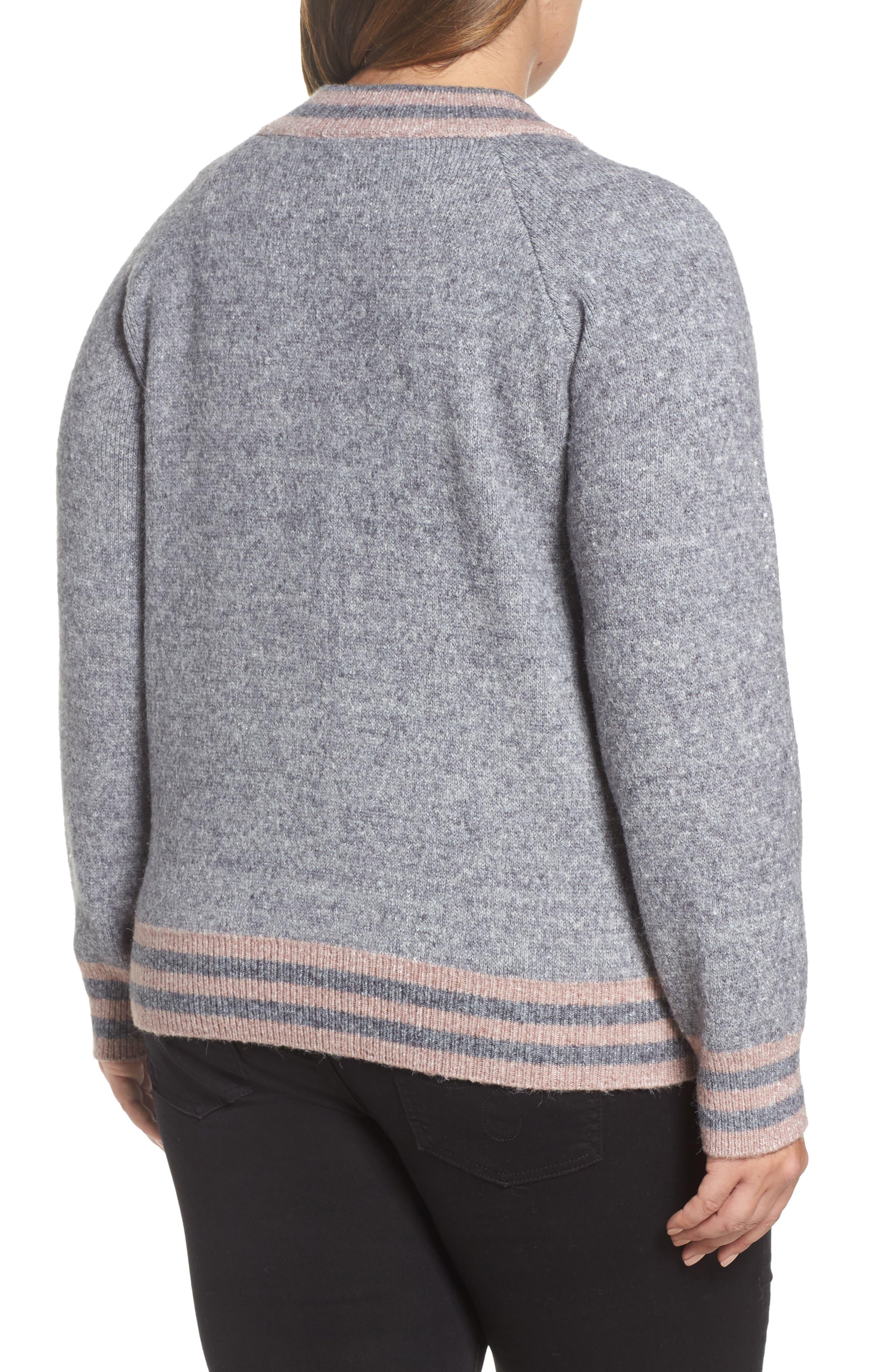 Zanja Embroidered Knit Bomber Jacket,                             Alternate thumbnail 2, color,                             Medium Grey Melange