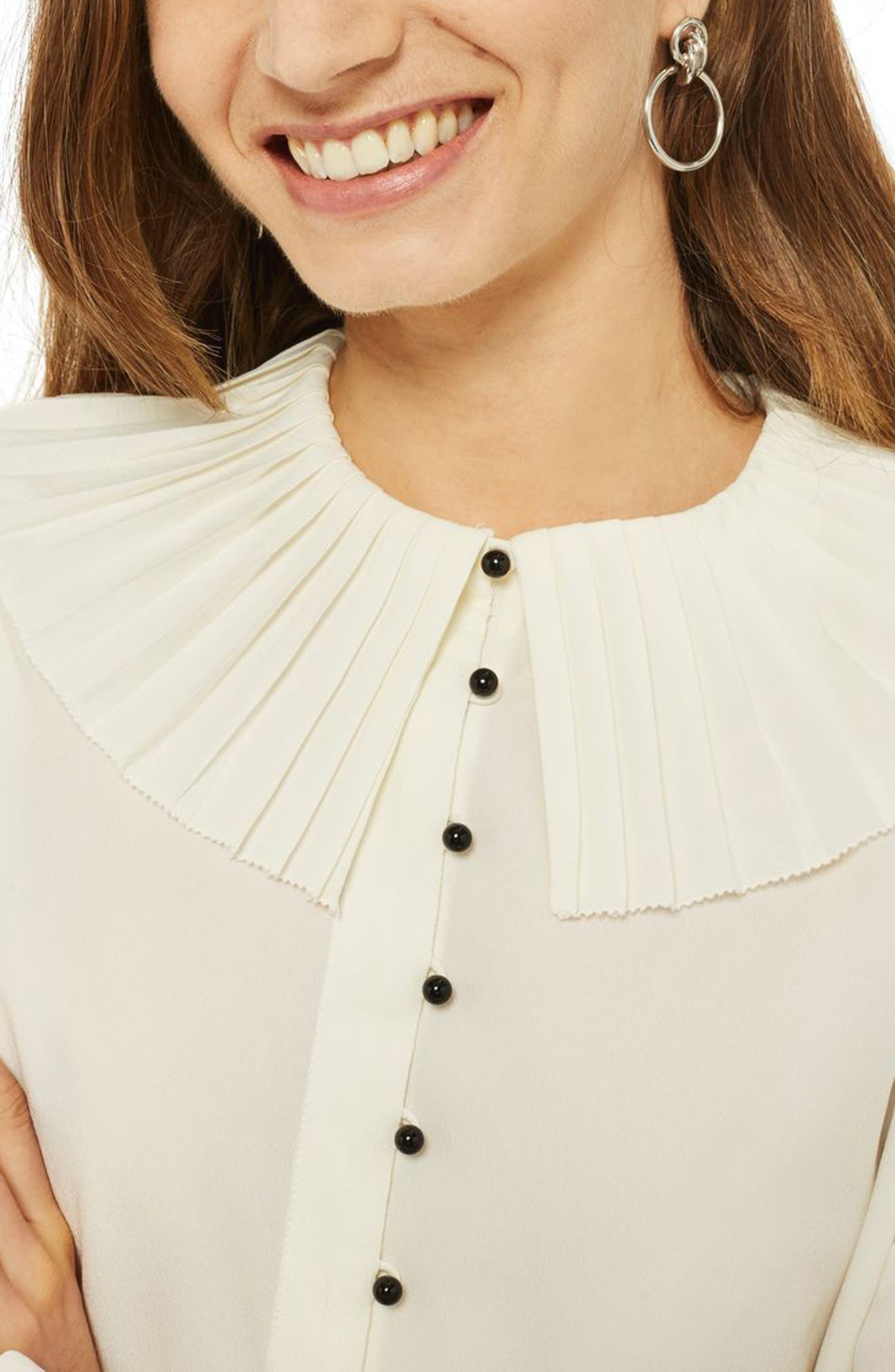 Pleated Collar Shirt,                             Alternate thumbnail 4, color,                             Ivory