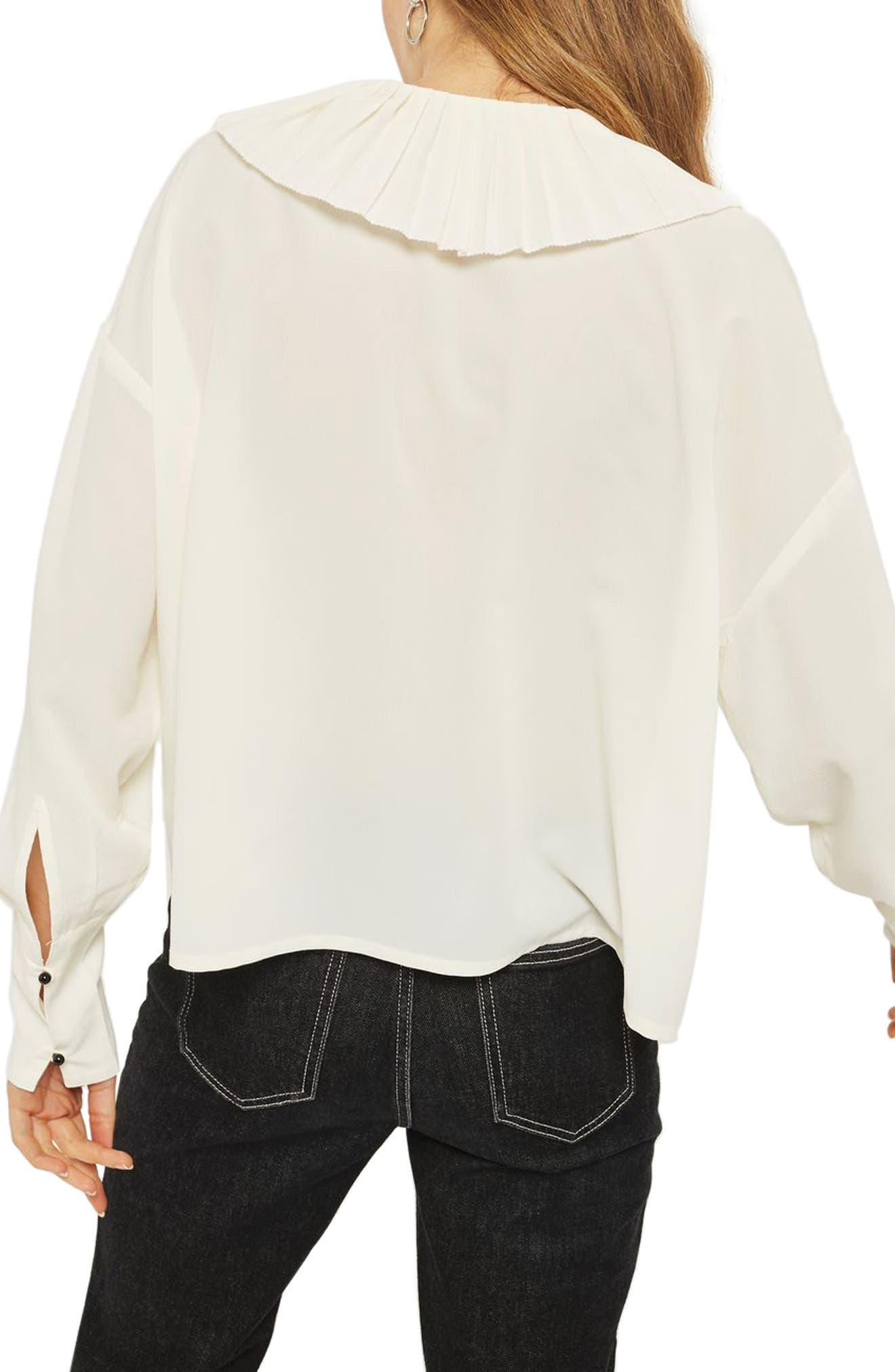 Pleated Collar Shirt,                             Alternate thumbnail 3, color,                             Ivory