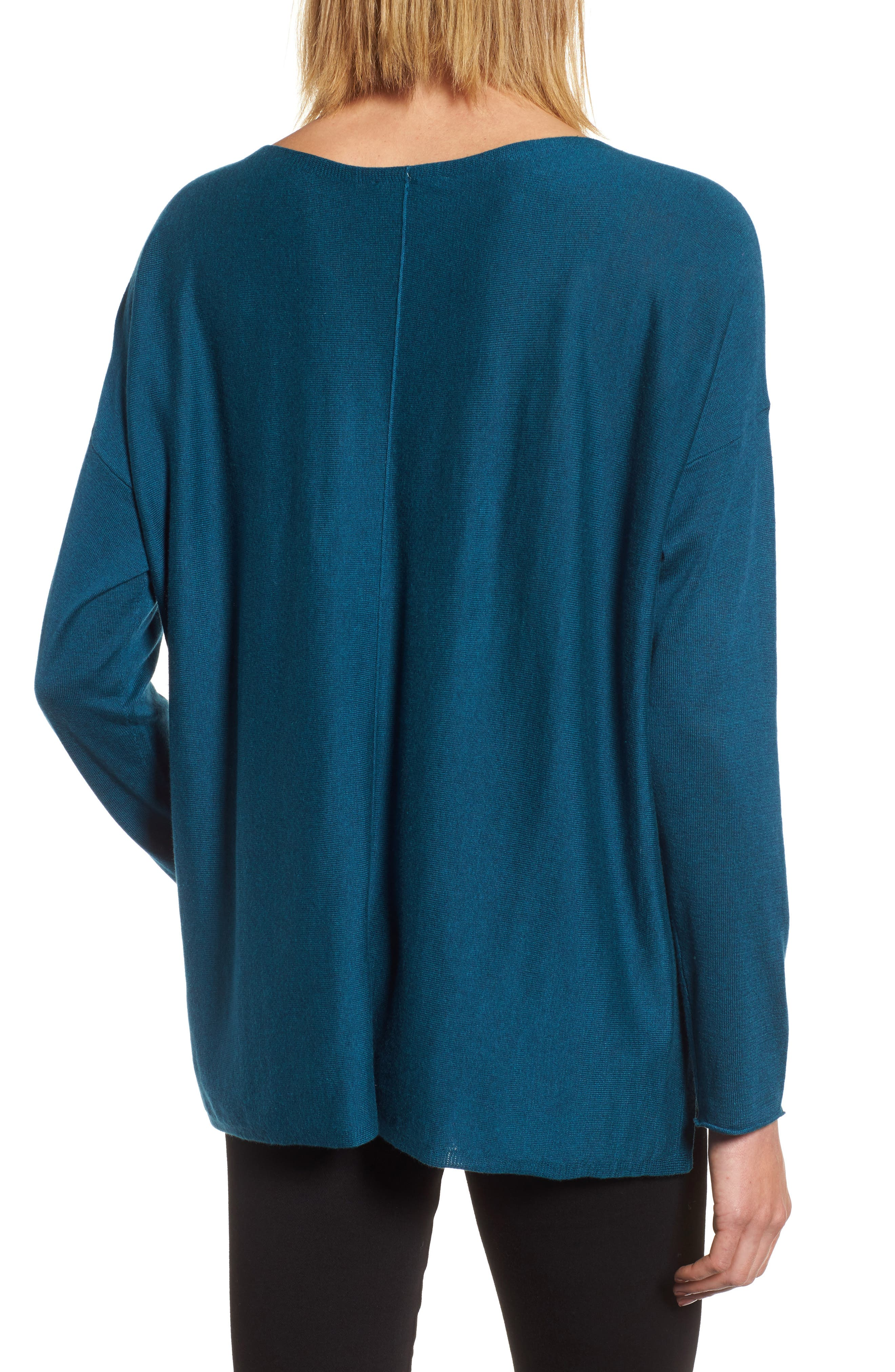 Tencel<sup>®</sup> Lyocell Blend High/Low Sweater,                             Alternate thumbnail 2, color,                             Blue Spruce