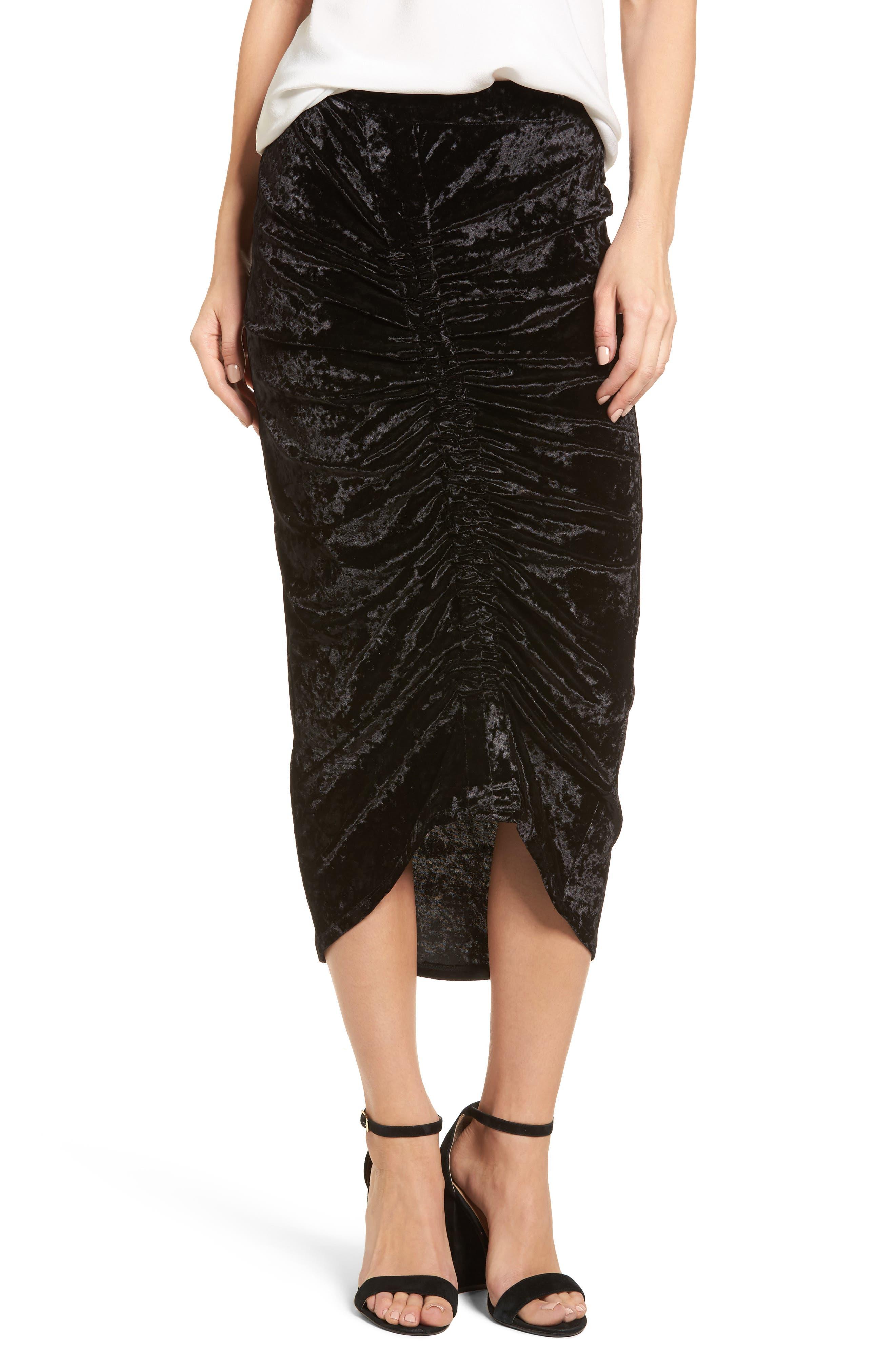 Velvet Midi Skirt,                             Main thumbnail 1, color,                             Black