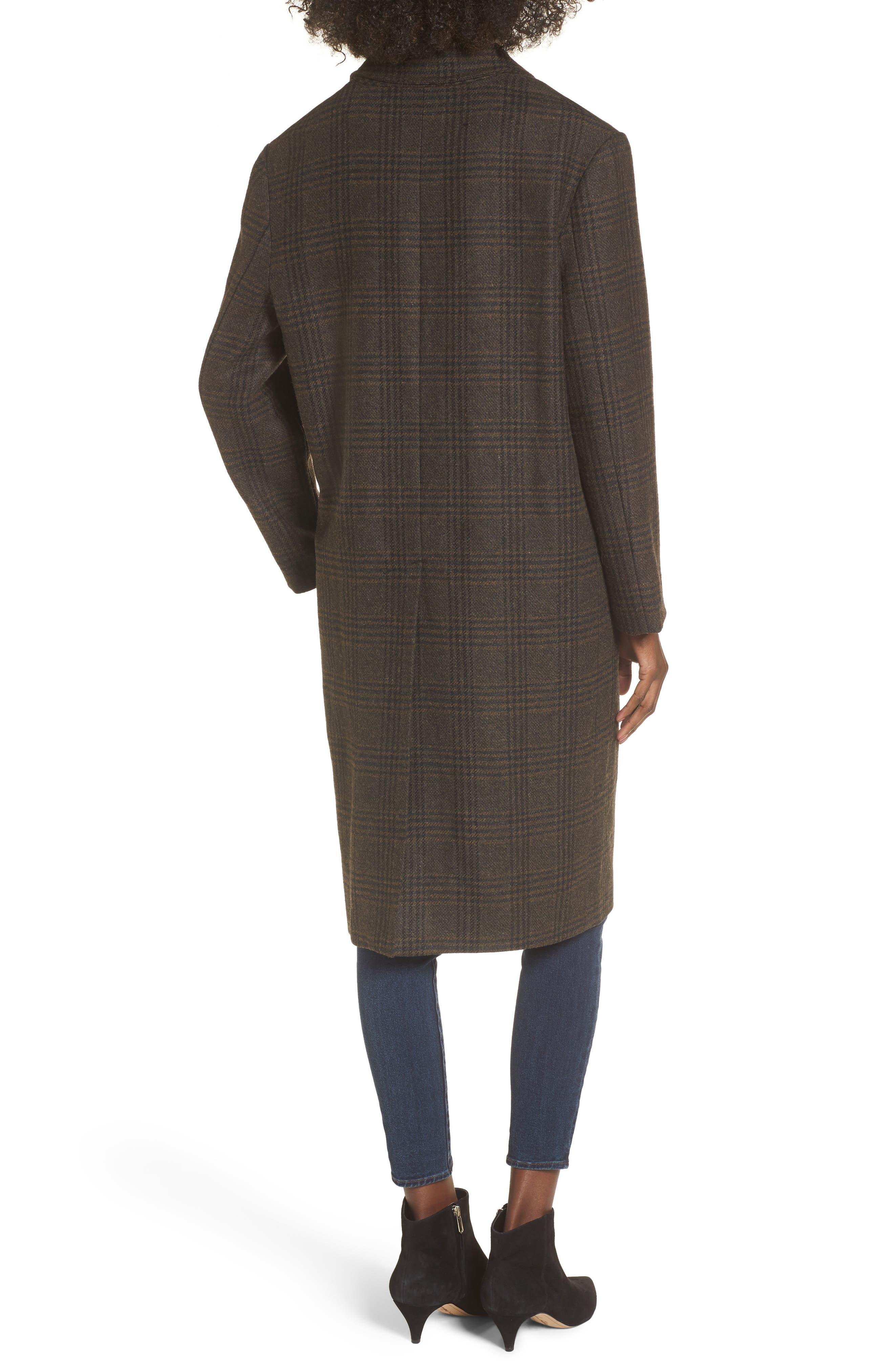 Menswear Coat,                             Alternate thumbnail 2, color,                             Brown Plaid