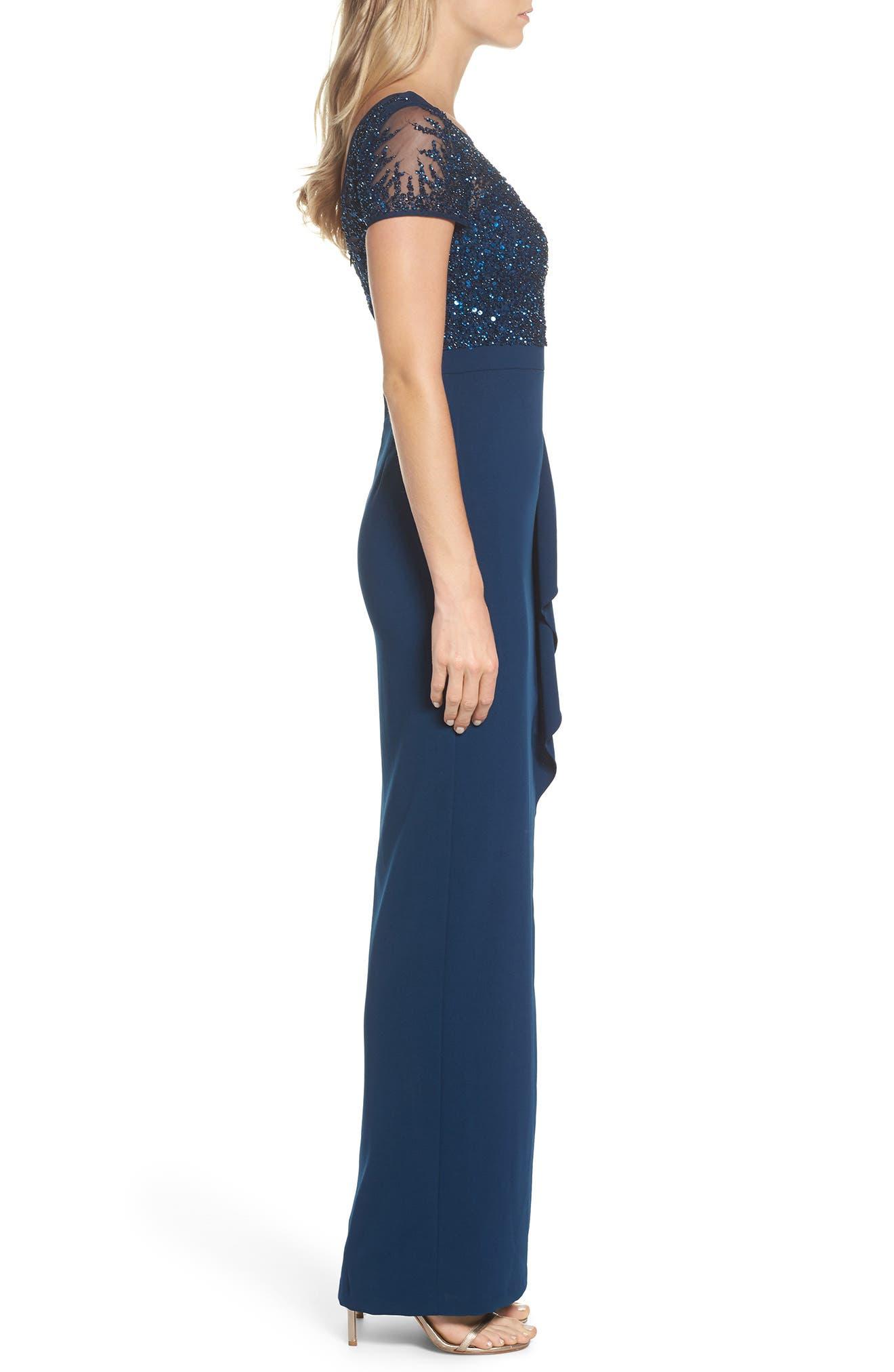 Beaded Bodice Ruffle Gown,                             Alternate thumbnail 3, color,                             Deep Blue