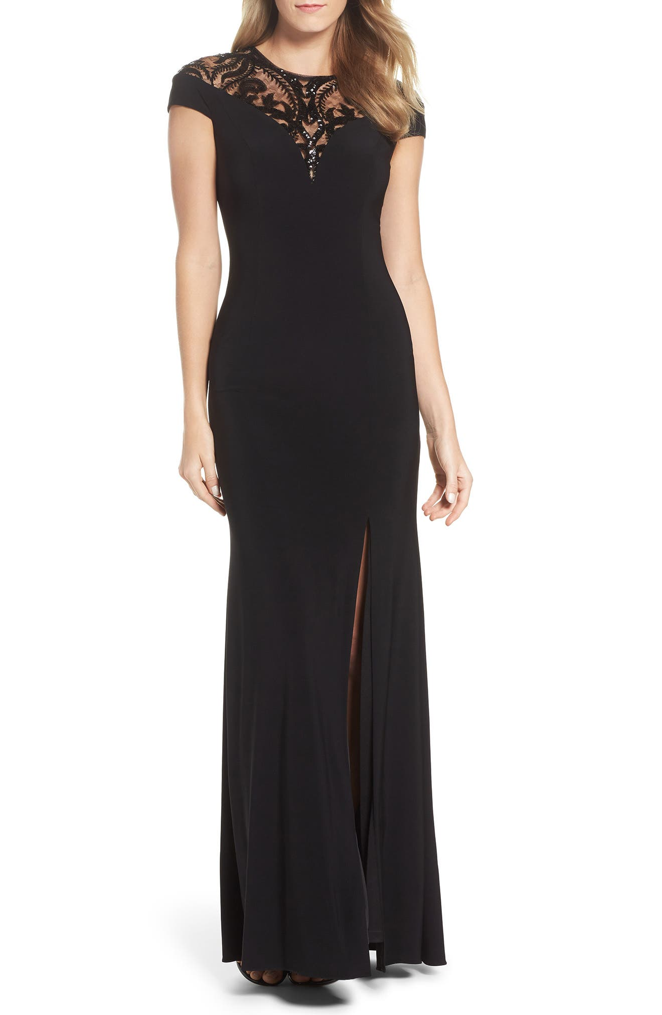 Sequin Embellished Gown,                             Main thumbnail 1, color,                             Black