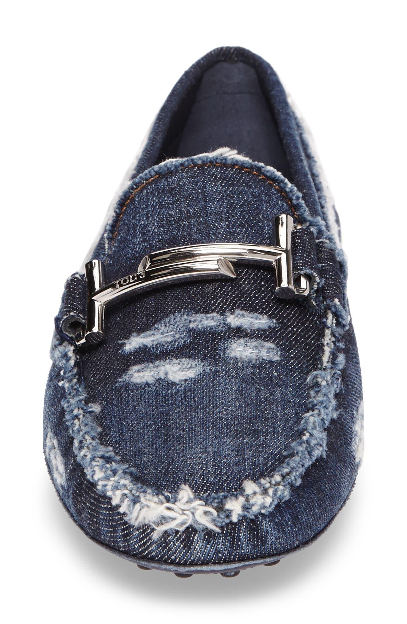 Gommino Double T Loafer,                             Alternate thumbnail 4, color,                             Denim Blue
