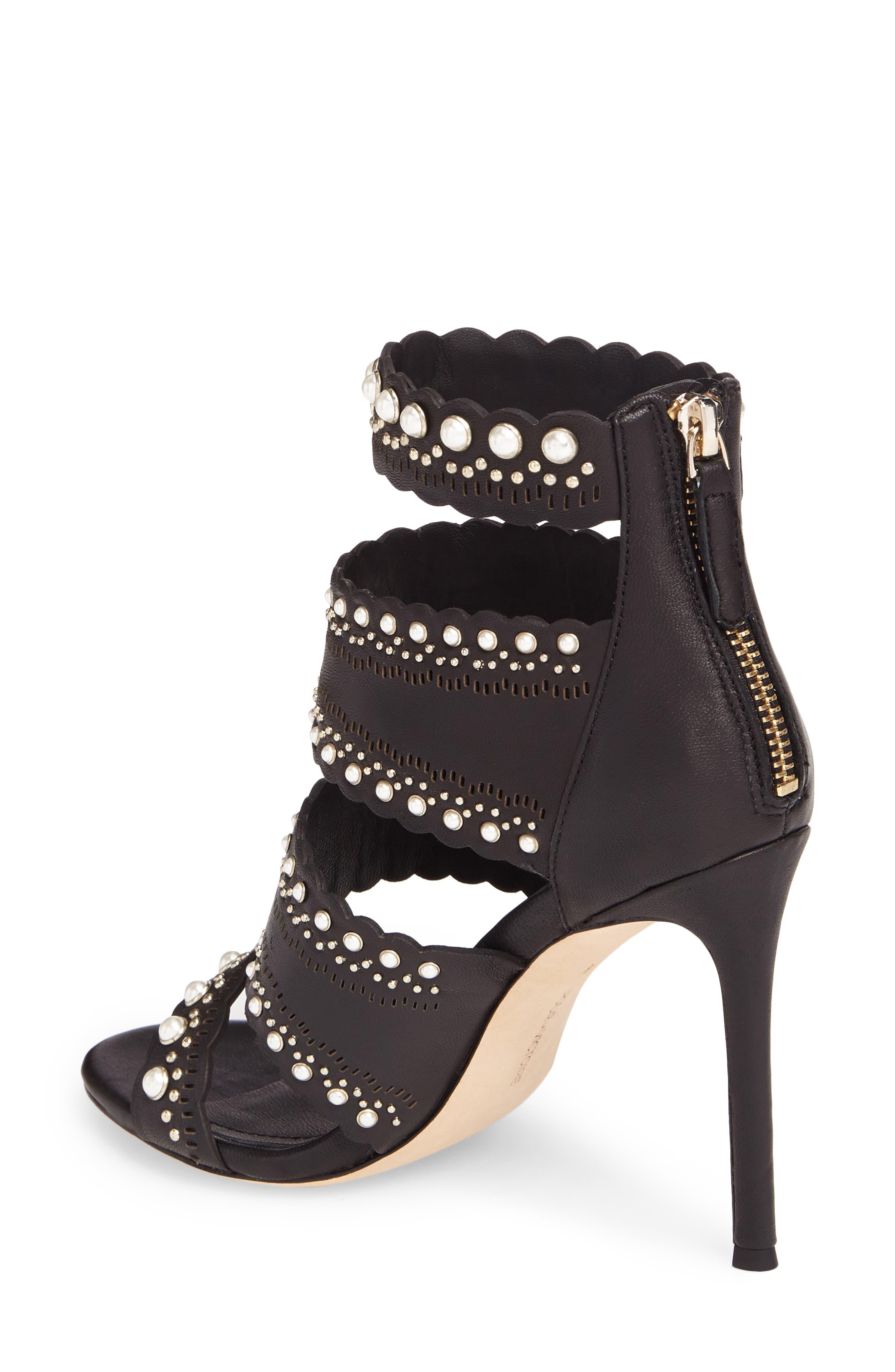 Ellura Scalloped Strap Sandal,                             Alternate thumbnail 2, color,                             Black Leather