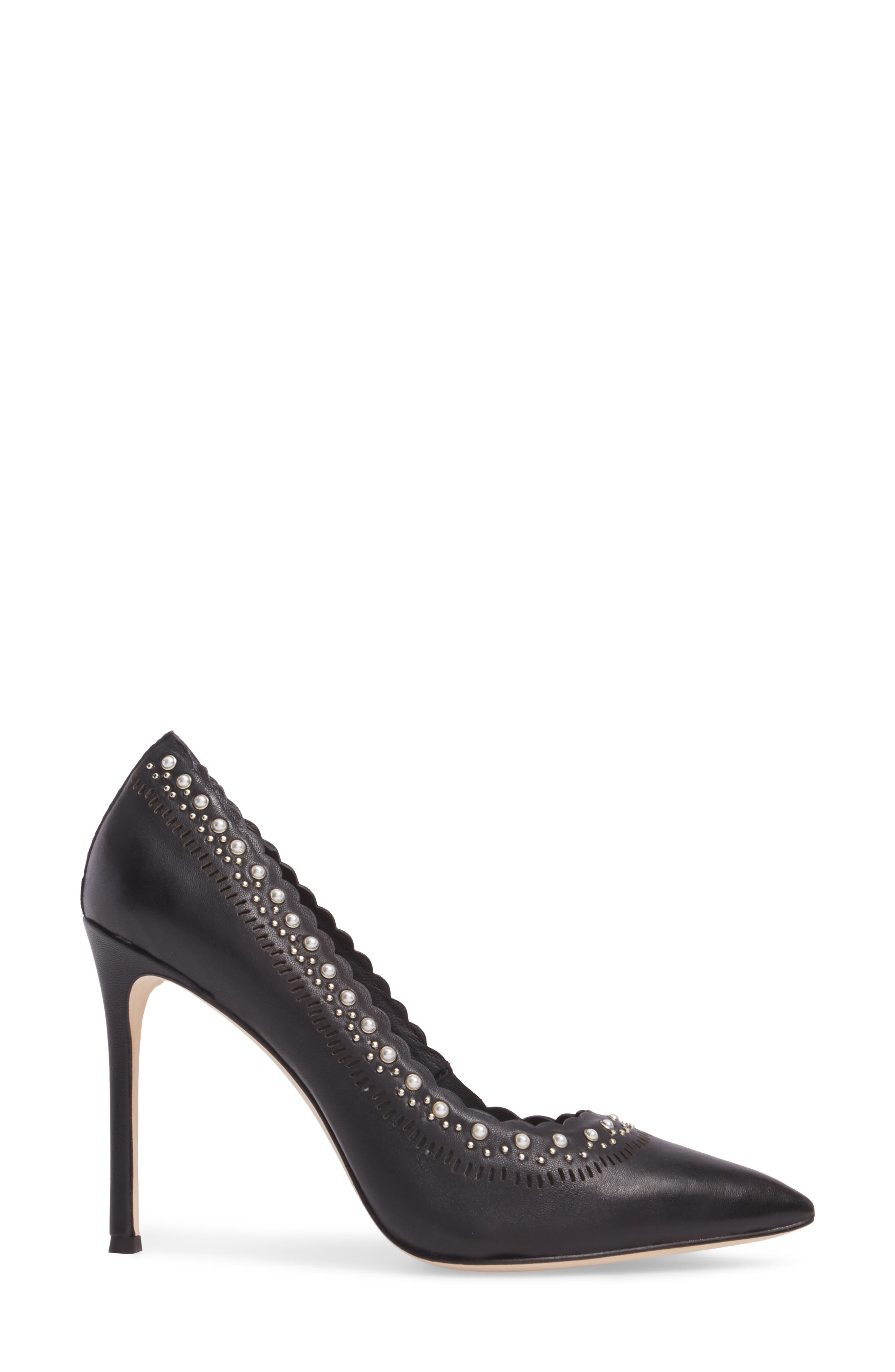 Cerella Embellished Pump,                             Alternate thumbnail 3, color,                             Black Leather