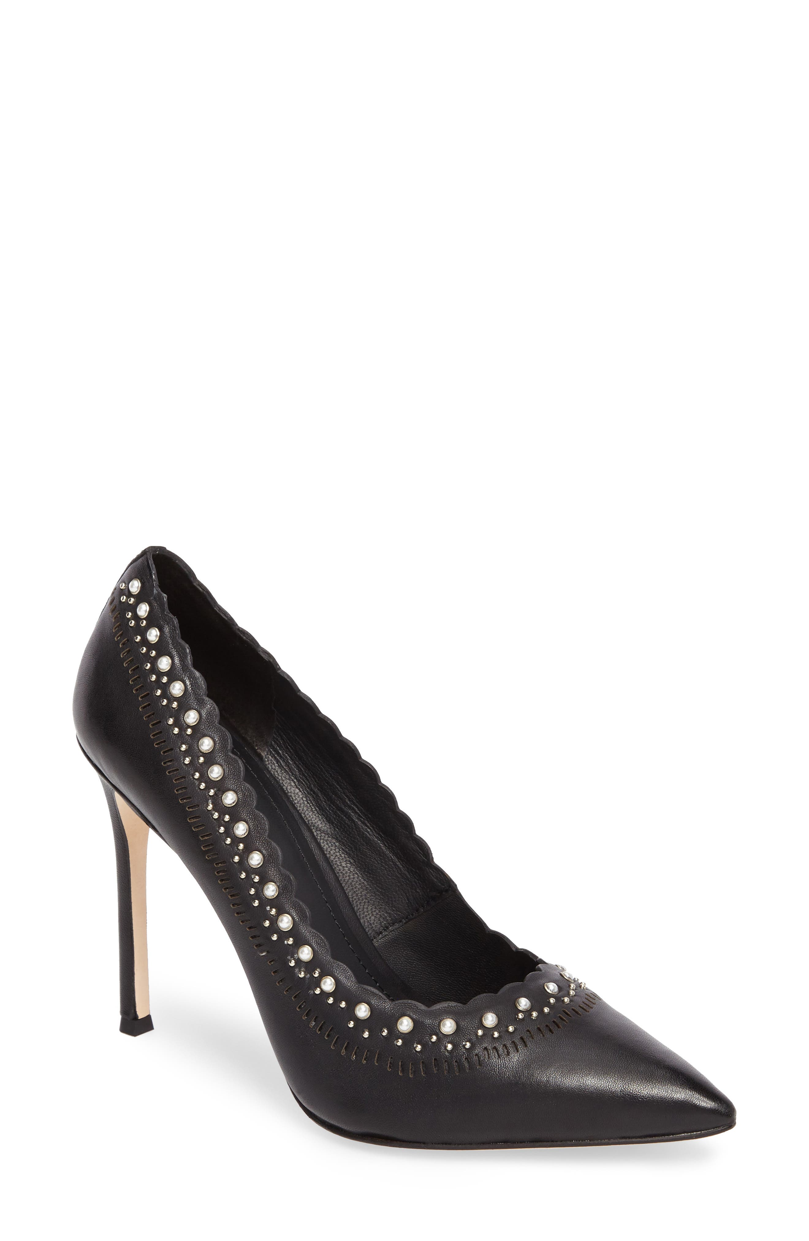 Cerella Embellished Pump,                             Main thumbnail 1, color,                             Black Leather