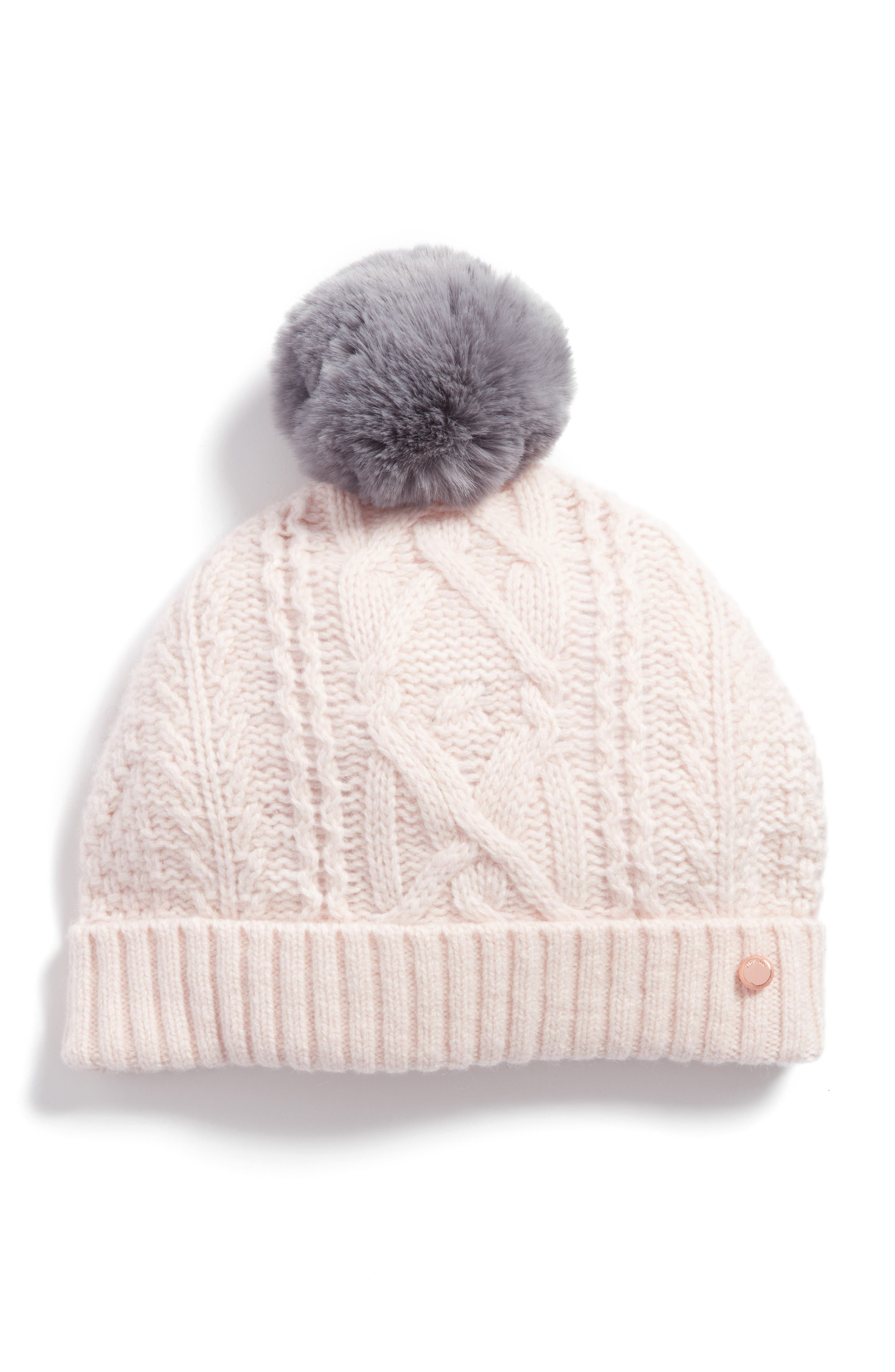 Ted Baker London Cable Knit Faux Fur Pompom Beanie