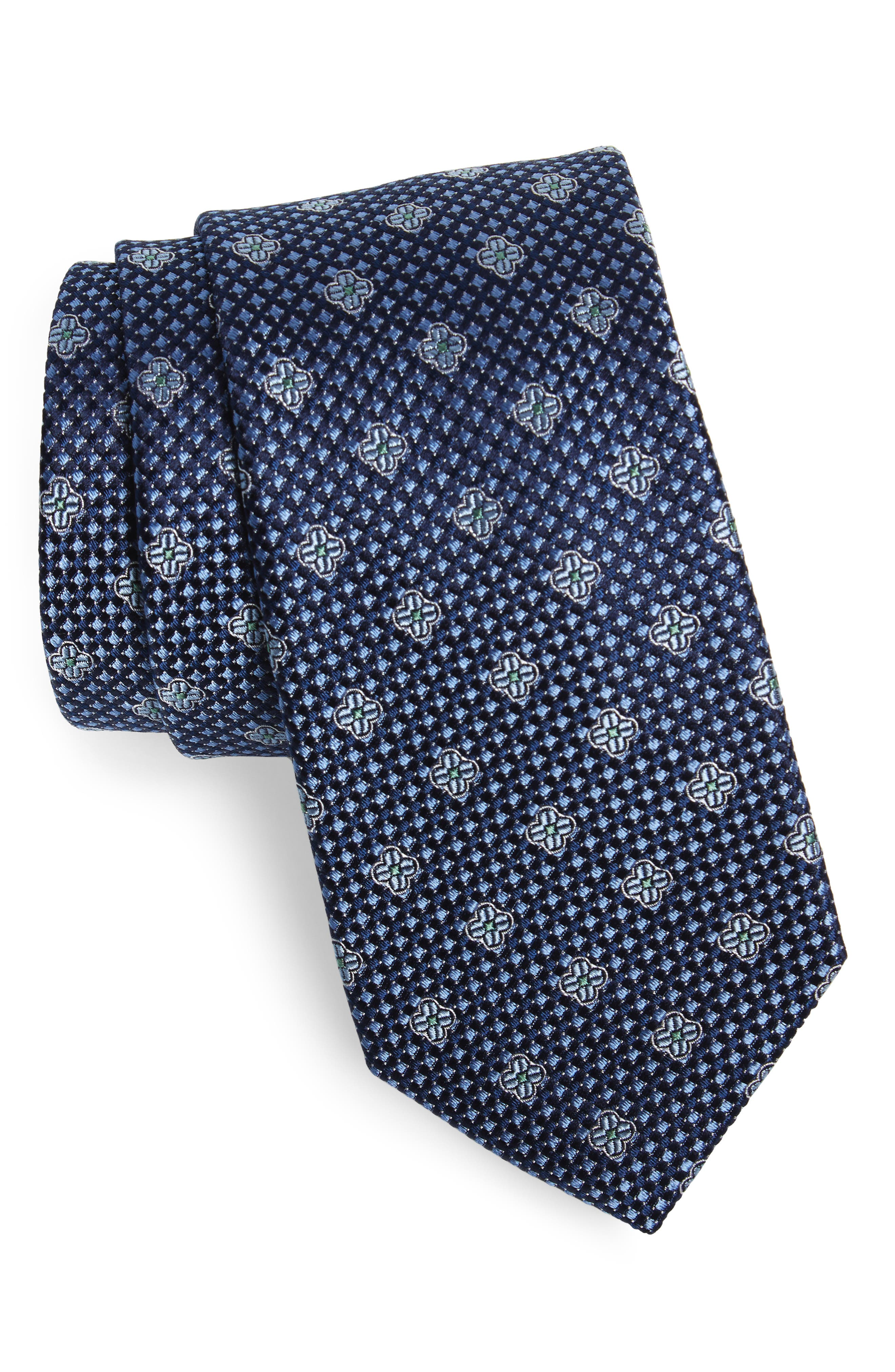 Textured Floral Silk Tie,                             Main thumbnail 1, color,                             Navy