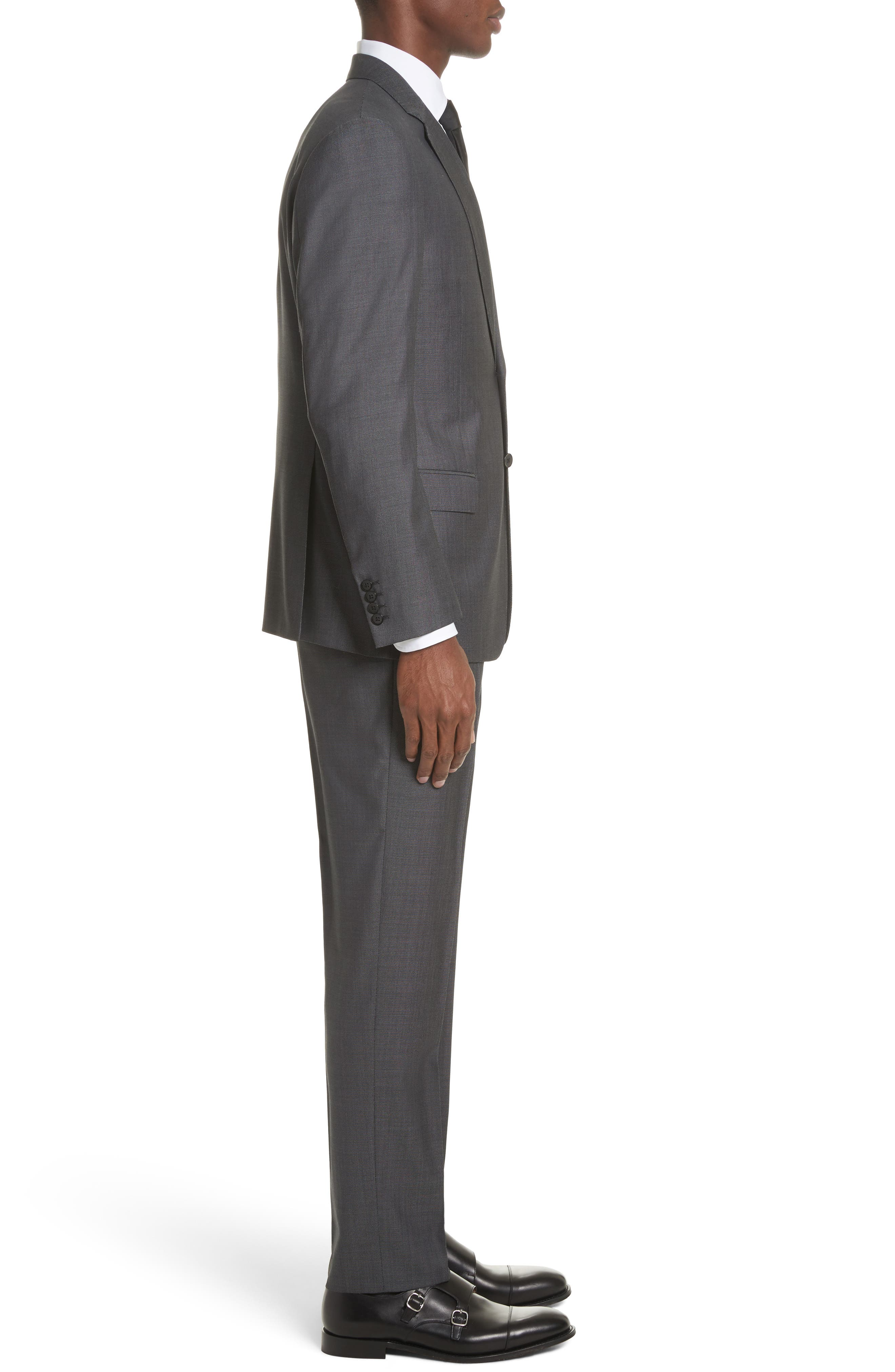 G Line Trim Fit Solid Wool & Silk Suit,                             Alternate thumbnail 3, color,                             Grey