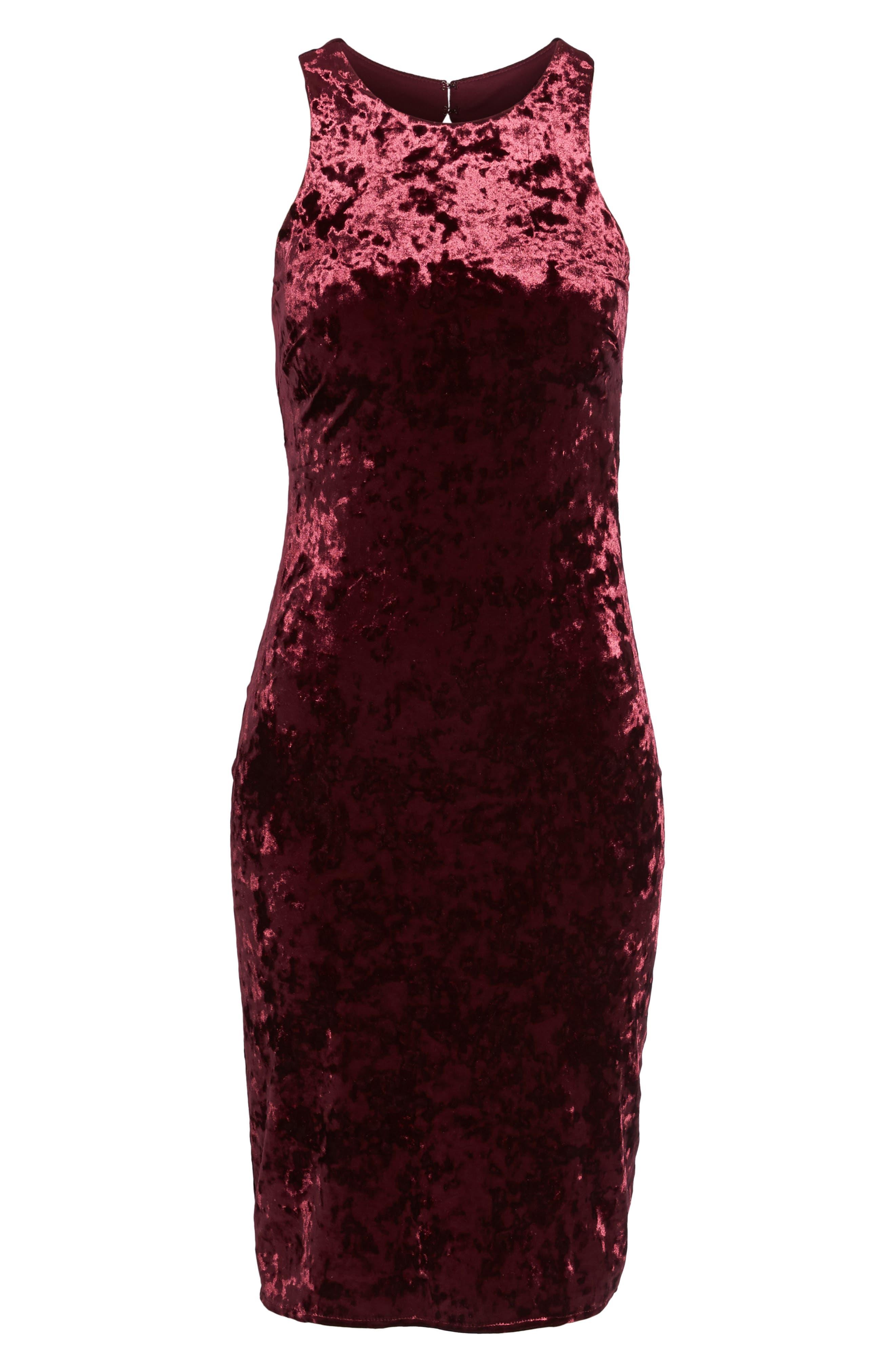 Cutout Back Velvet Sheath Dress,                             Alternate thumbnail 6, color,                             Burgundy