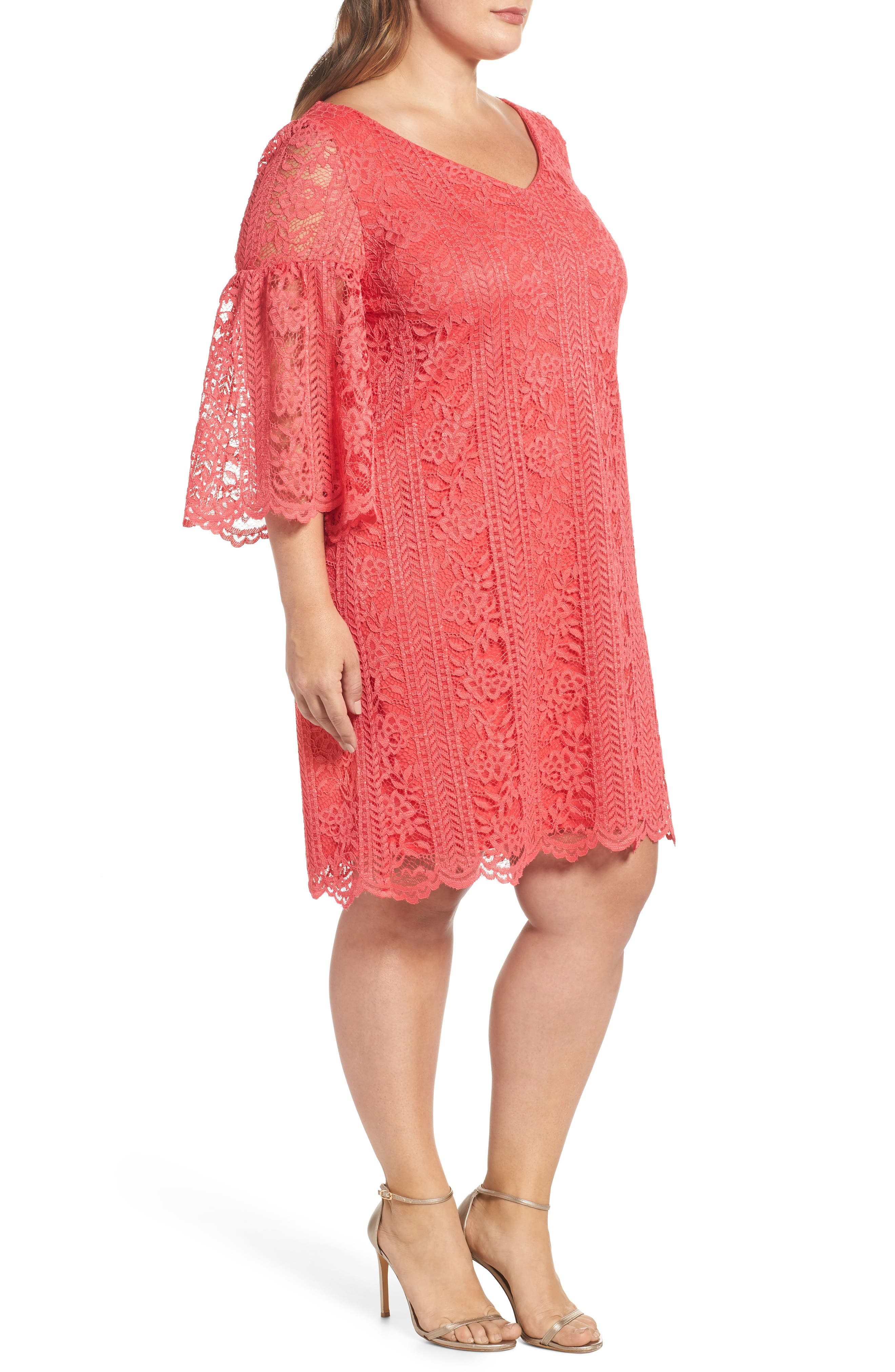 Bell Sleeve Lace Shift Dress,                             Alternate thumbnail 3, color,                             Hot Coral