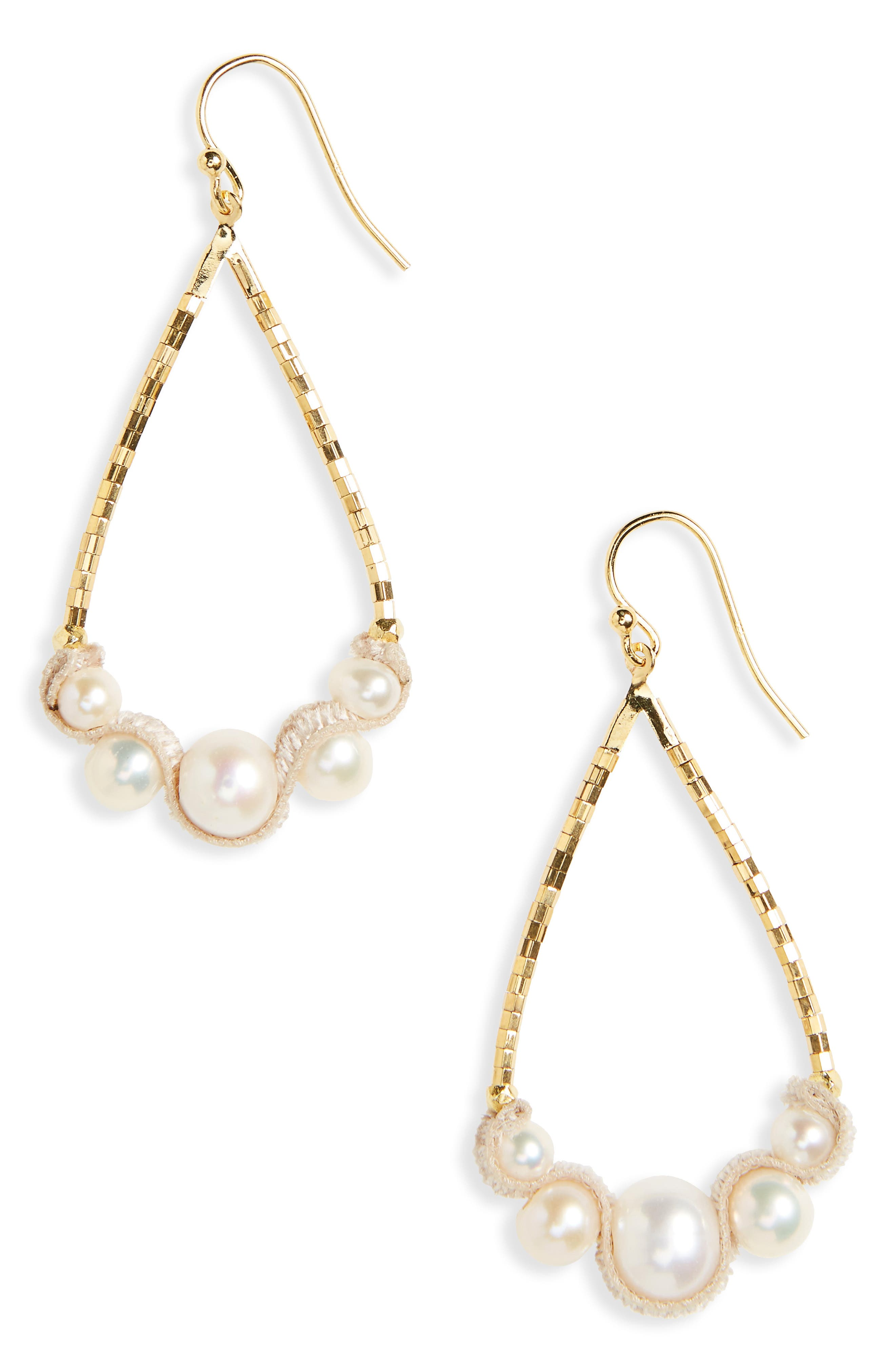 Pearl & Velvet Drop Earrings,                             Main thumbnail 1, color,                             White Pearl