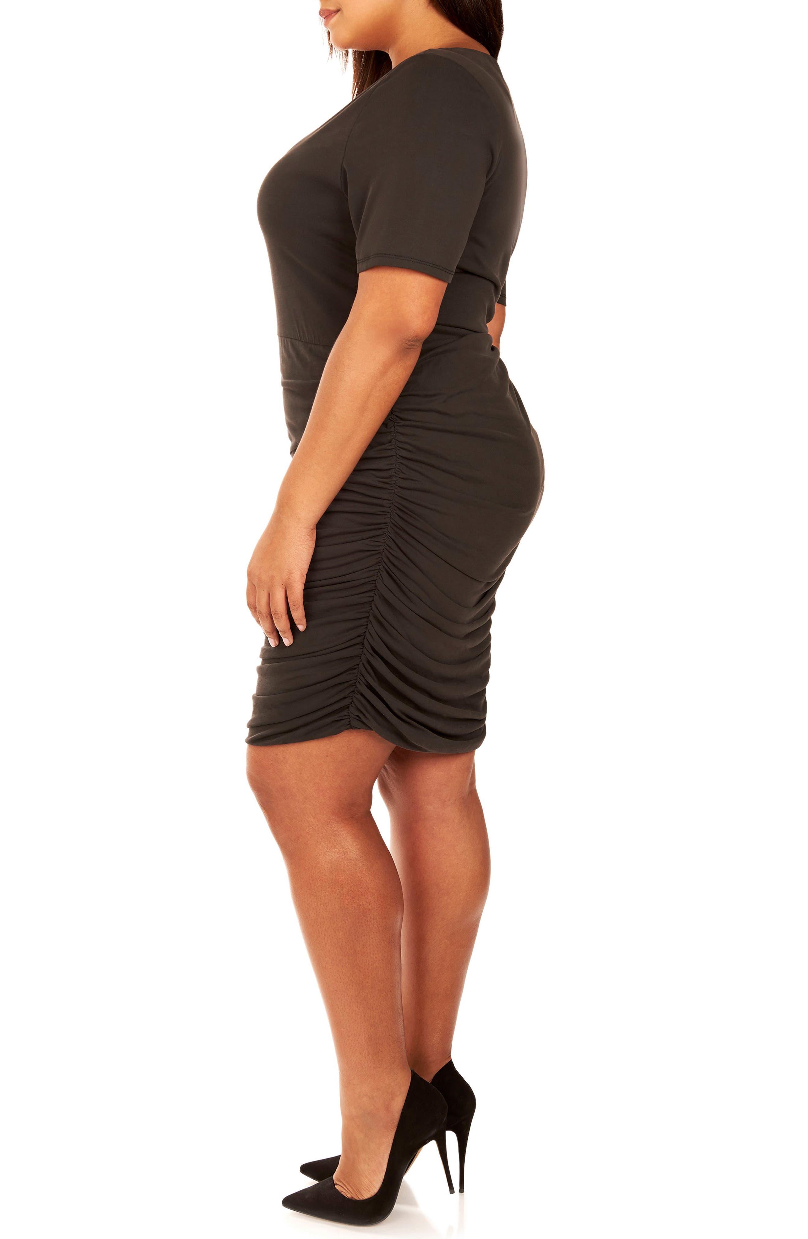 Ruched Sandwashed Jersey Dress,                             Alternate thumbnail 4, color,                             Black Beauty