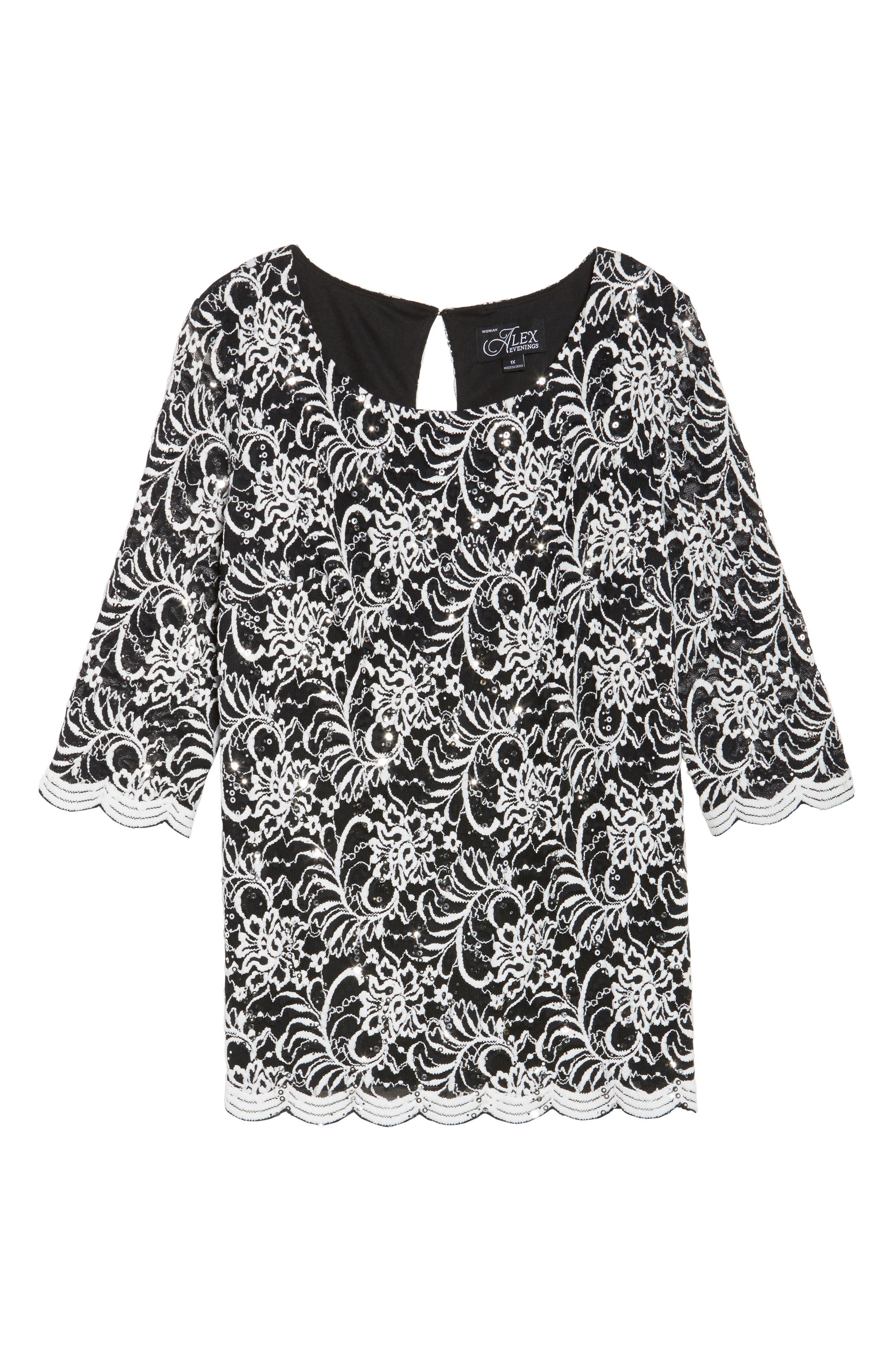 Embroidered Tulle Blouse,                             Alternate thumbnail 6, color,                             Black/ White