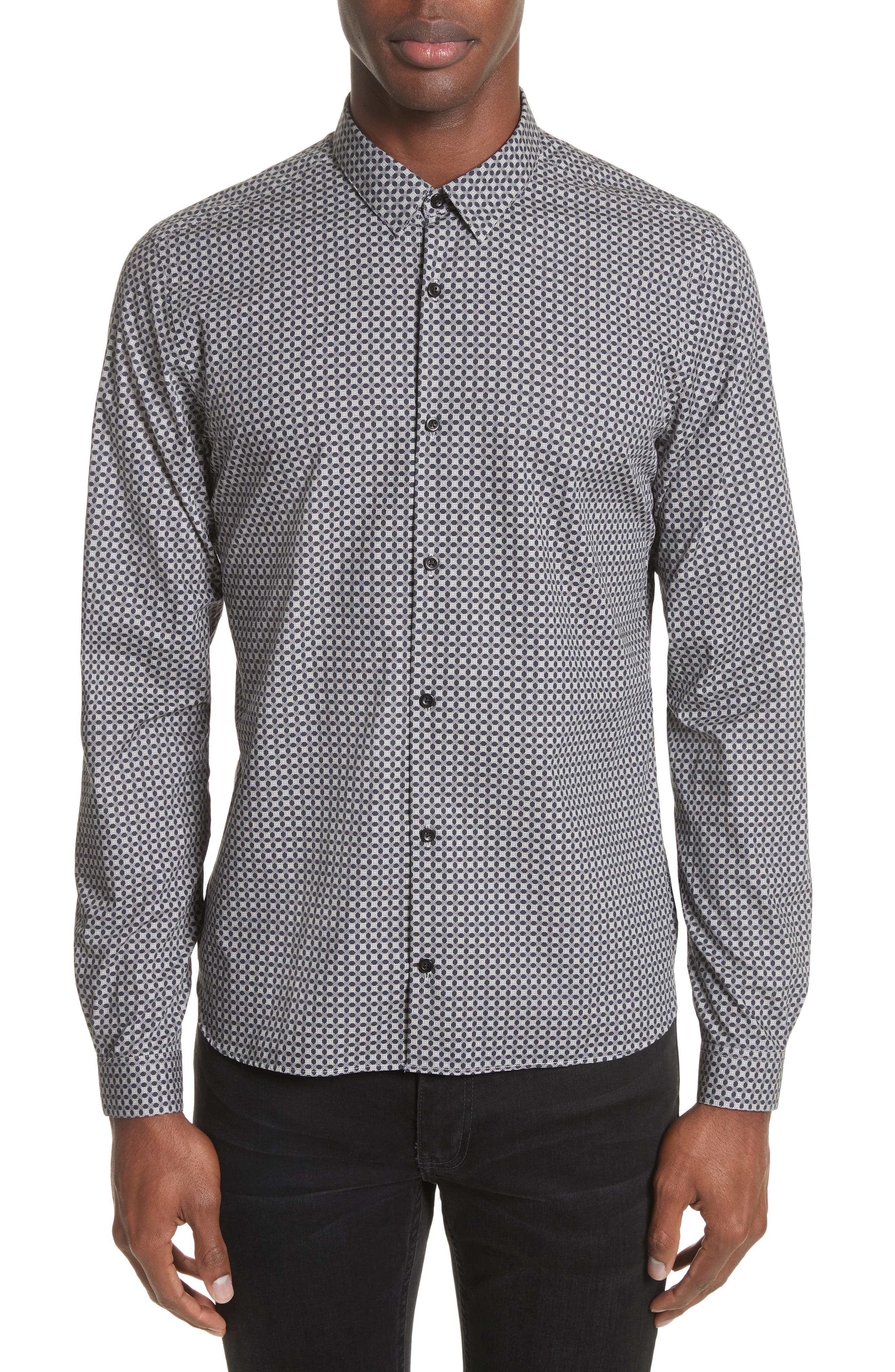 Geometric Print Woven Shirt,                         Main,                         color, Grey