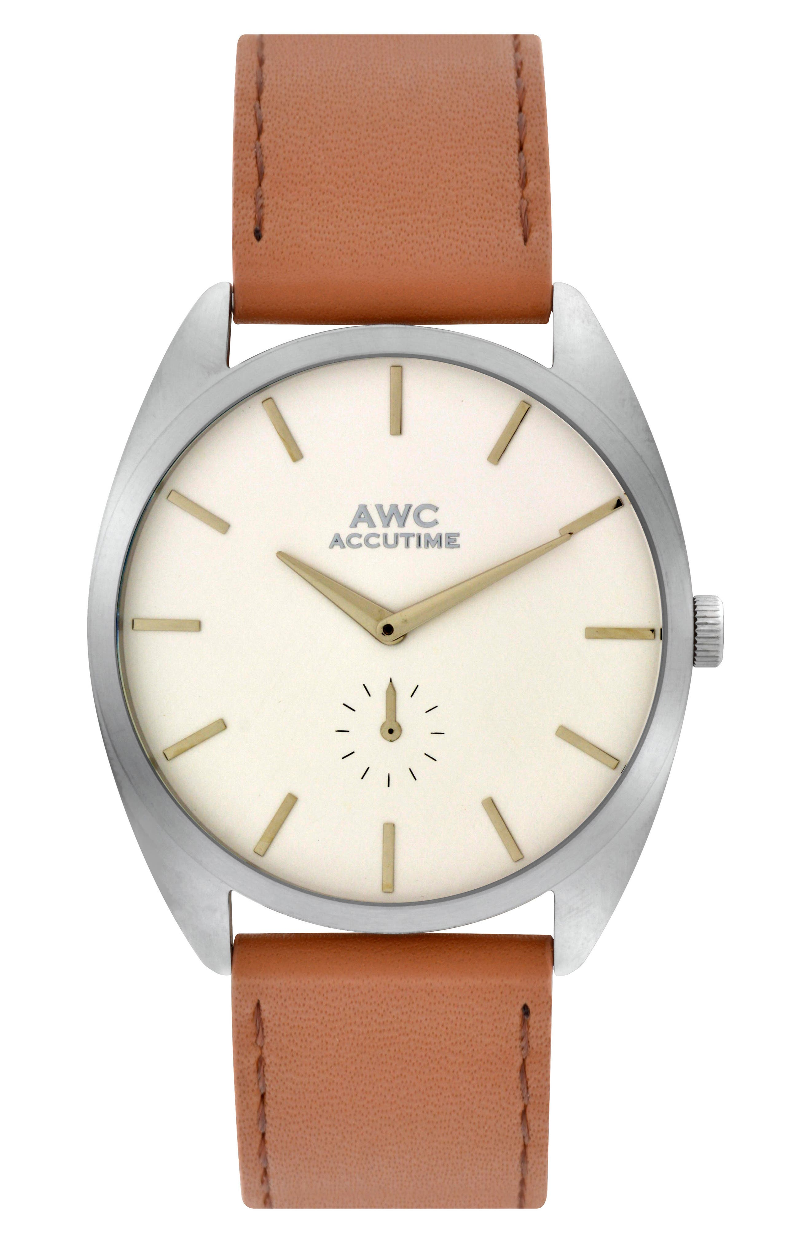 Main Image - Accutime Subeye Leather Strap Watch, 45mm
