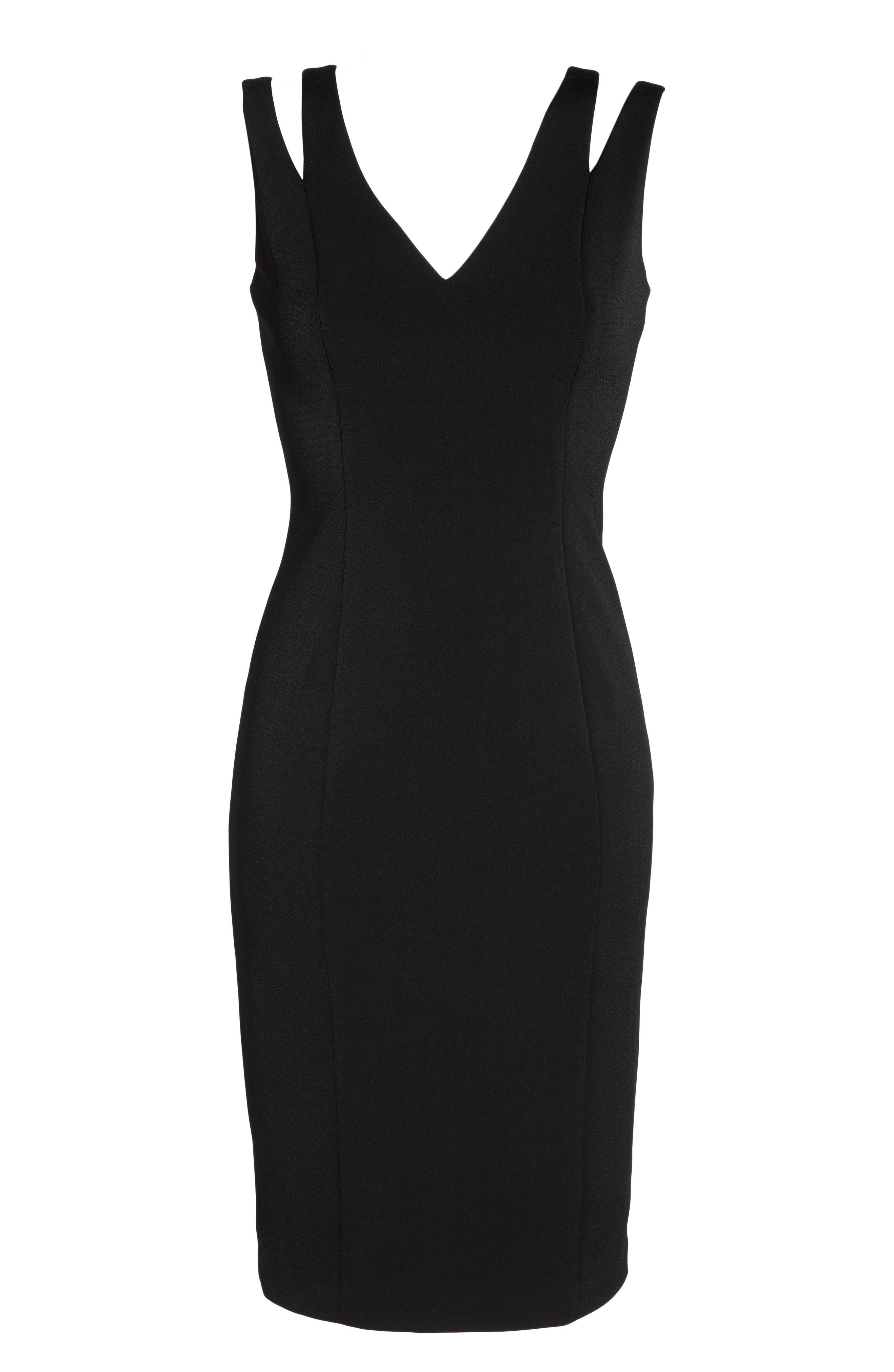 Cutout Shoulder Crepe Sheath Dress,                             Alternate thumbnail 6, color,                             Black