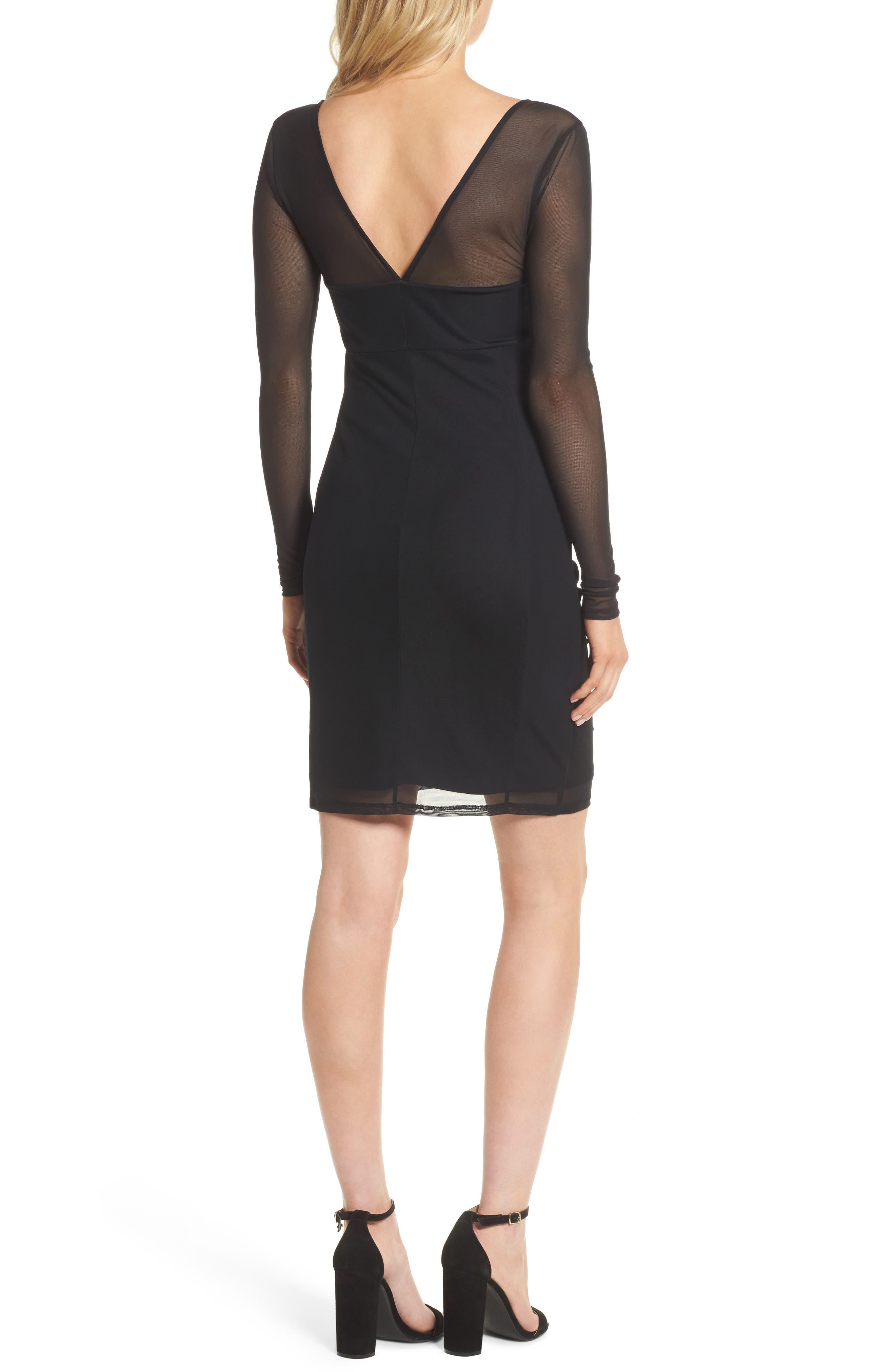 Body-Con Sheath Dress,                             Alternate thumbnail 2, color,                             Black