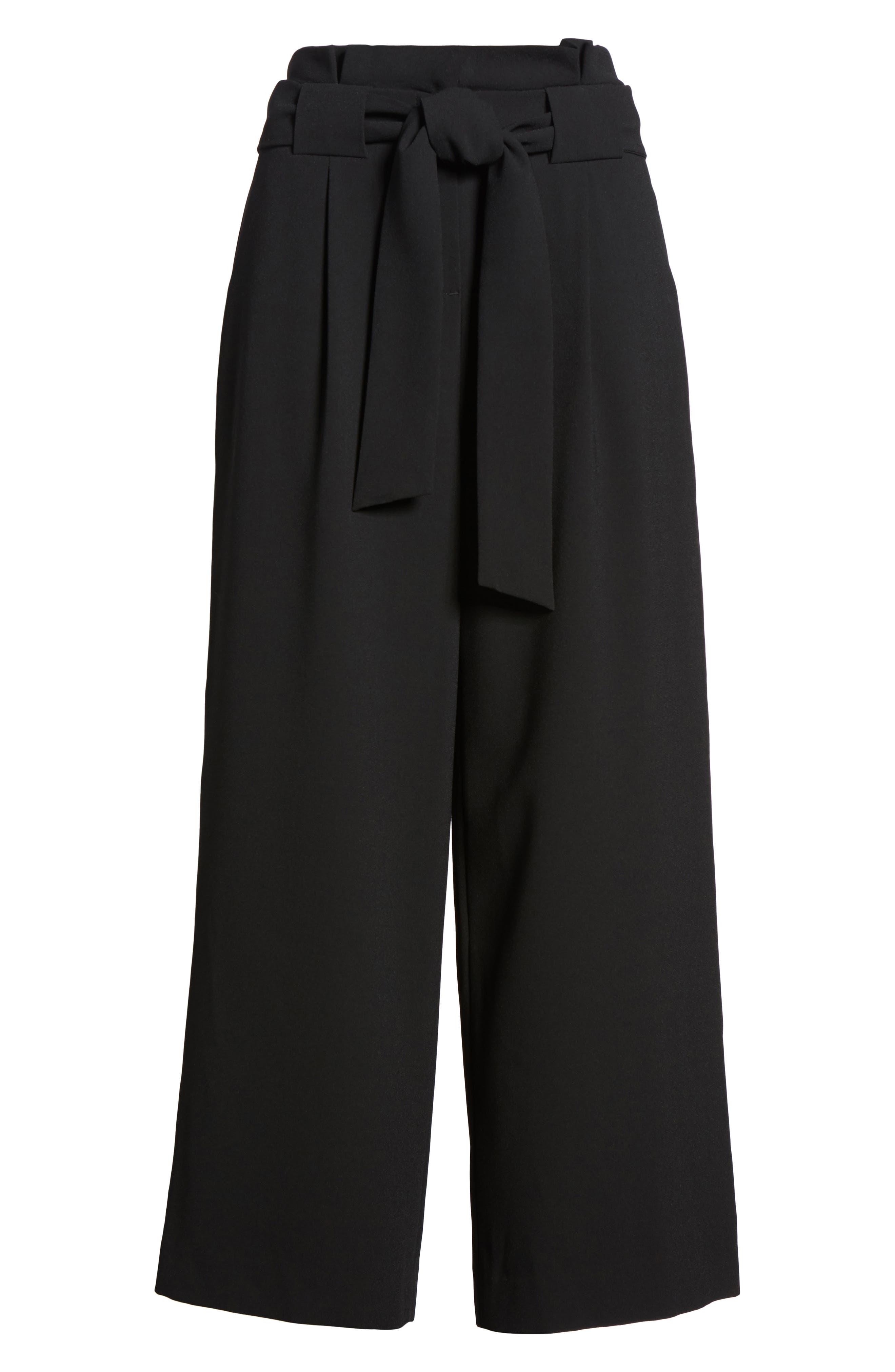 Belted Wide Leg Crop Pants,                             Alternate thumbnail 9, color,                             Black
