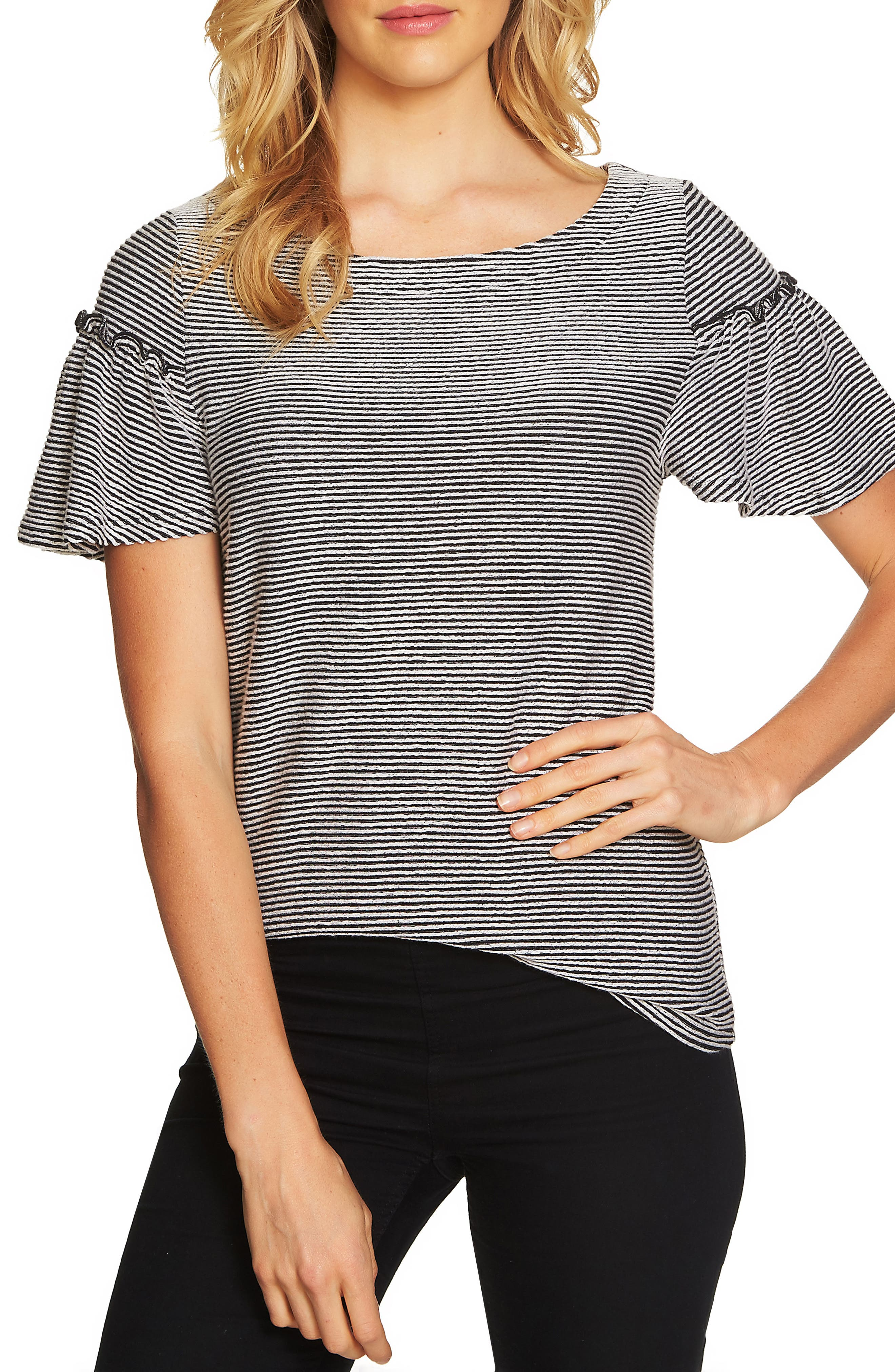 Flare Sleeve Stripe Rib Knit Top,                             Main thumbnail 1, color,                             Rich Black