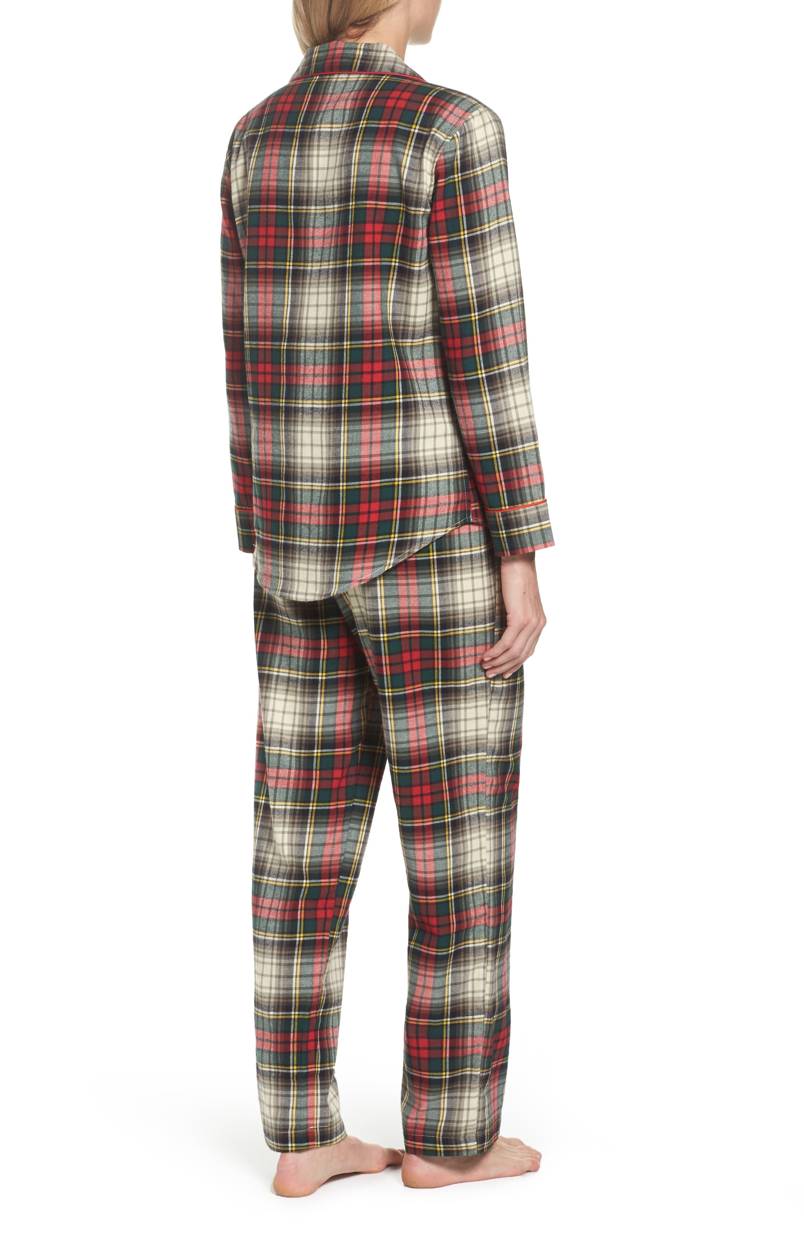 Cotton Pajamas,                             Alternate thumbnail 2, color,                             Ivory Plaid
