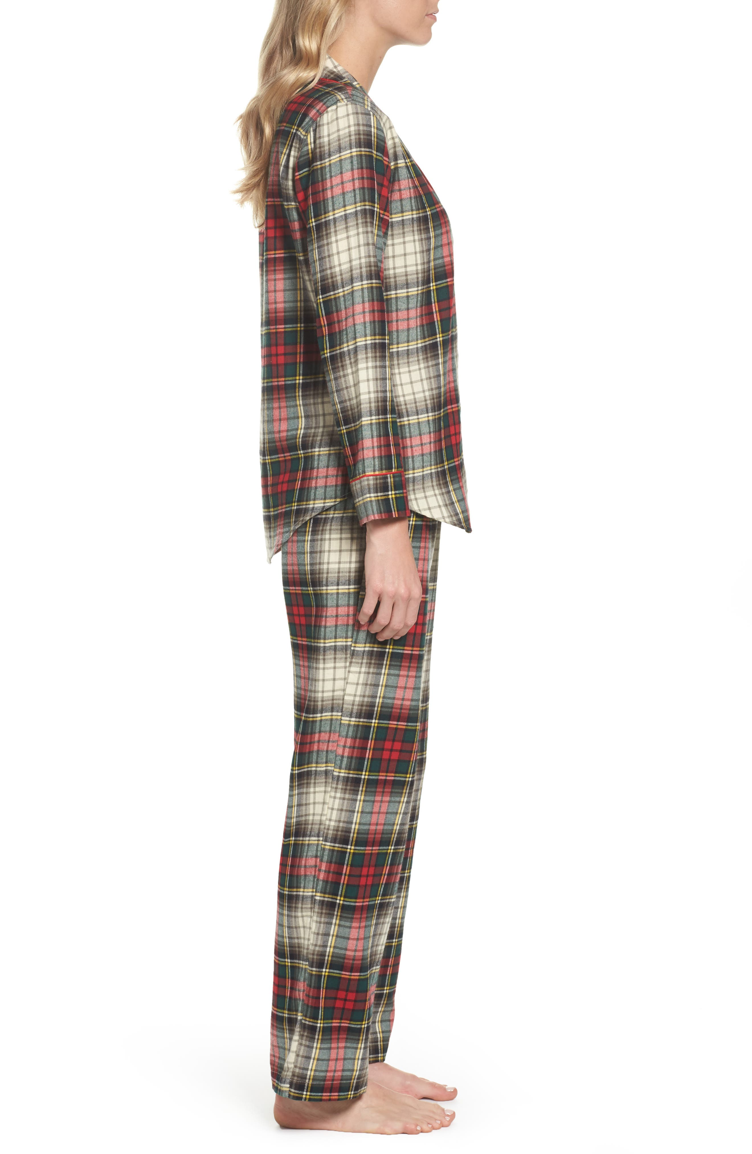 Cotton Pajamas,                             Alternate thumbnail 3, color,                             Ivory Plaid
