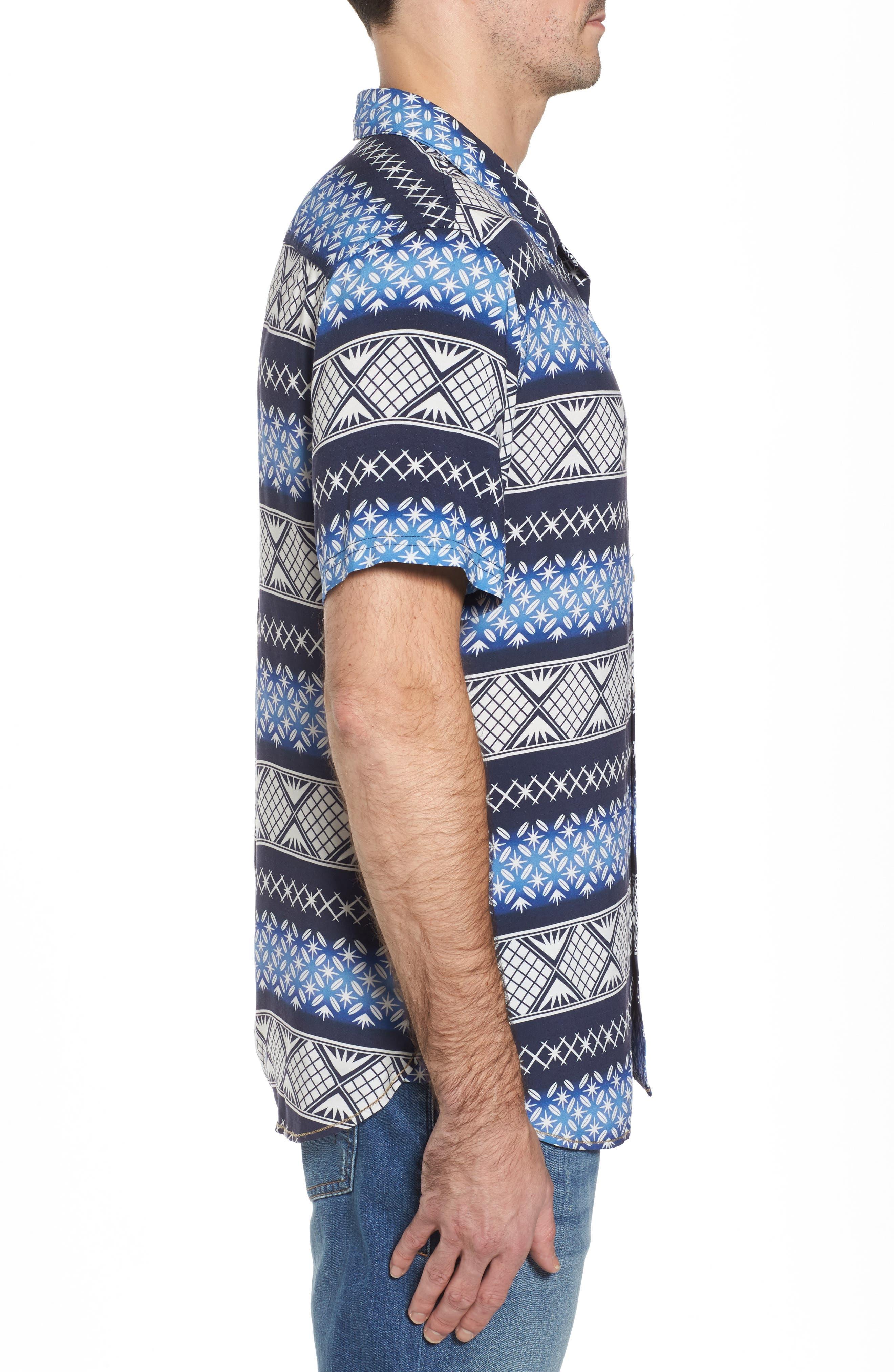 Geo Print Sport Shirt,                             Alternate thumbnail 3, color,                             Navy Blazer