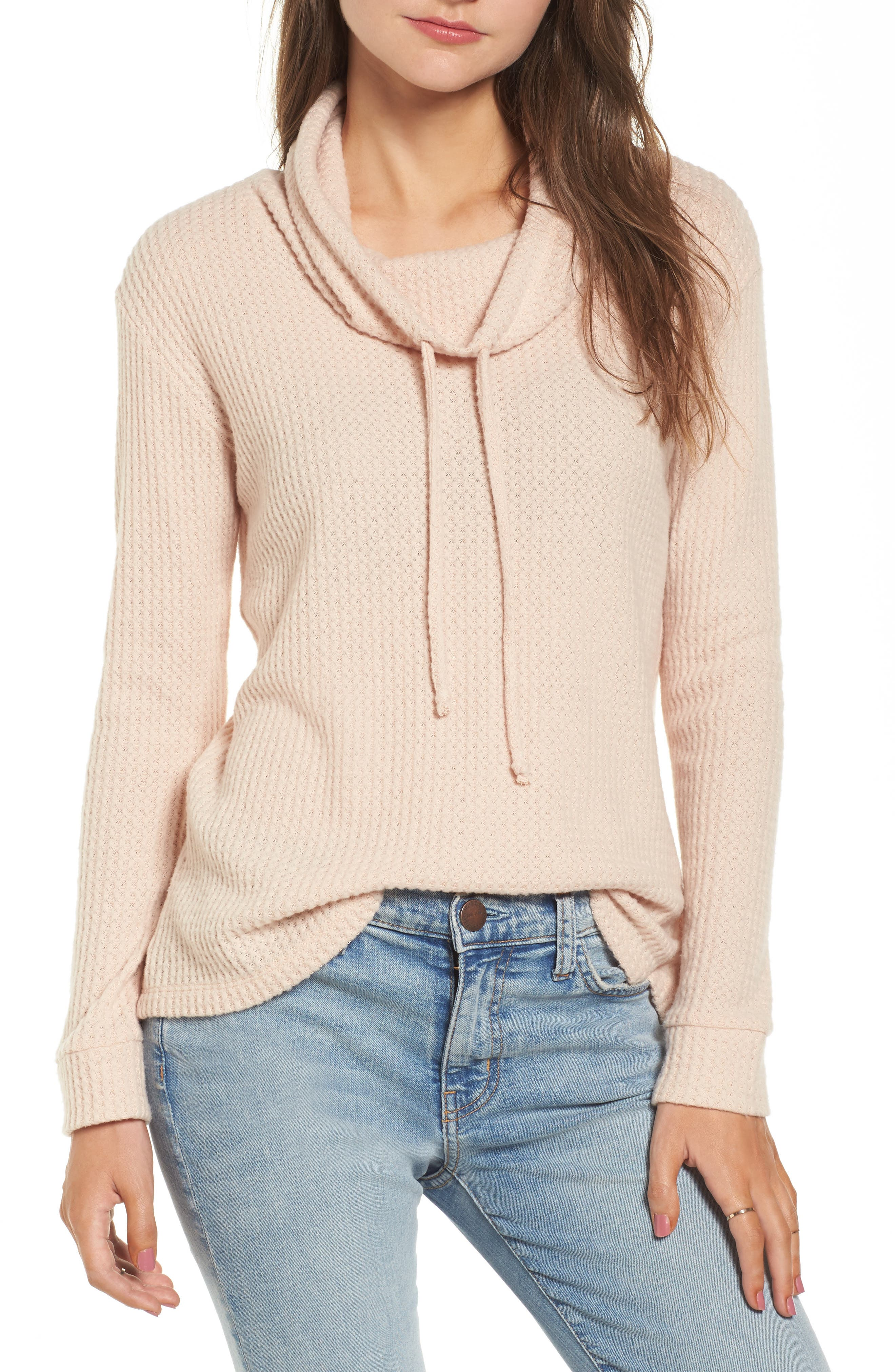 Alternate Image 1 Selected - Socialite Cowl Neck Waffle Knit Top