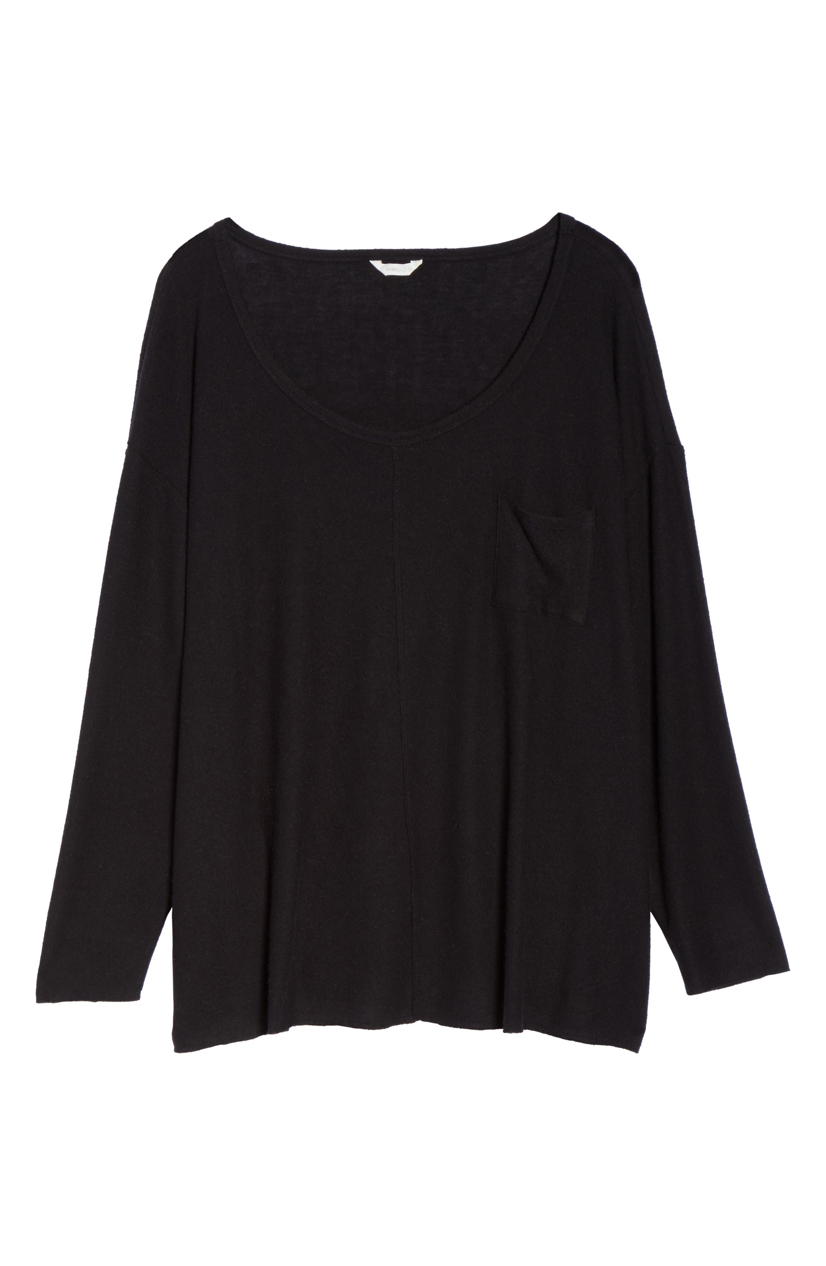 Drop Shoulder Pocket Top,                             Alternate thumbnail 6, color,                             Black