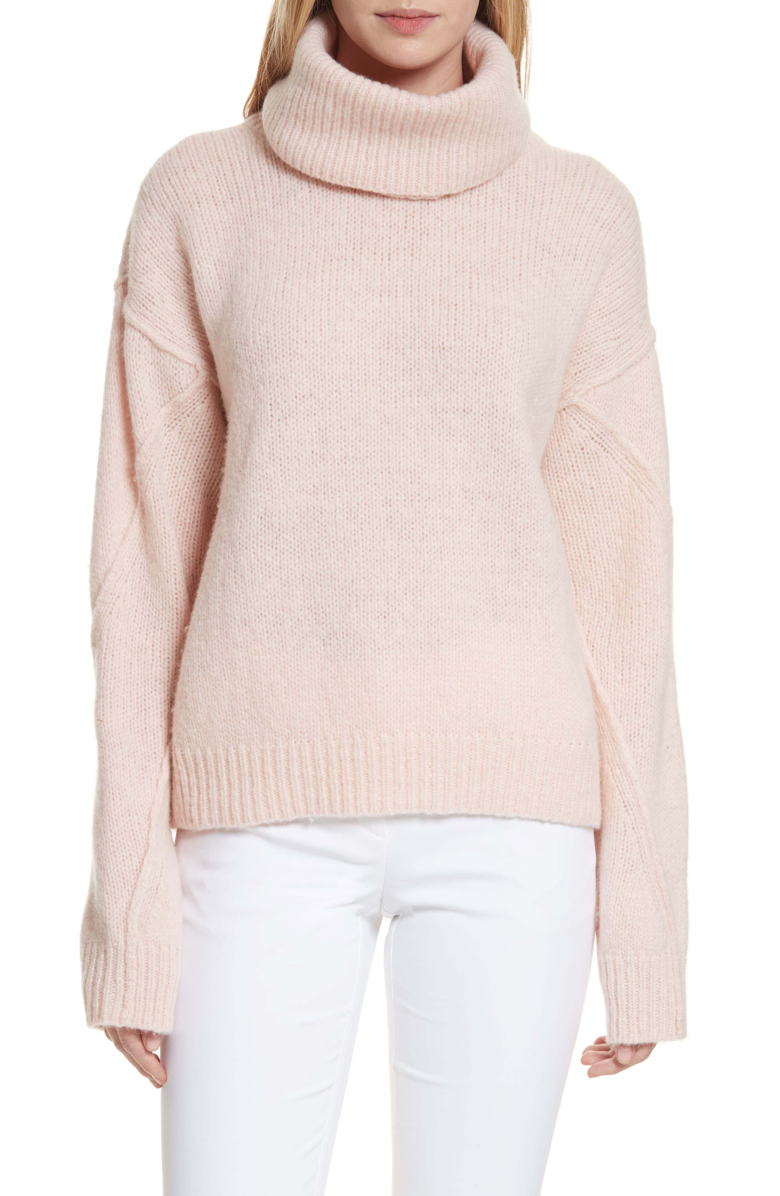 Eva Sweater with Removable Turtleneck,                             Main thumbnail 1, color,                             Porcelain Pink