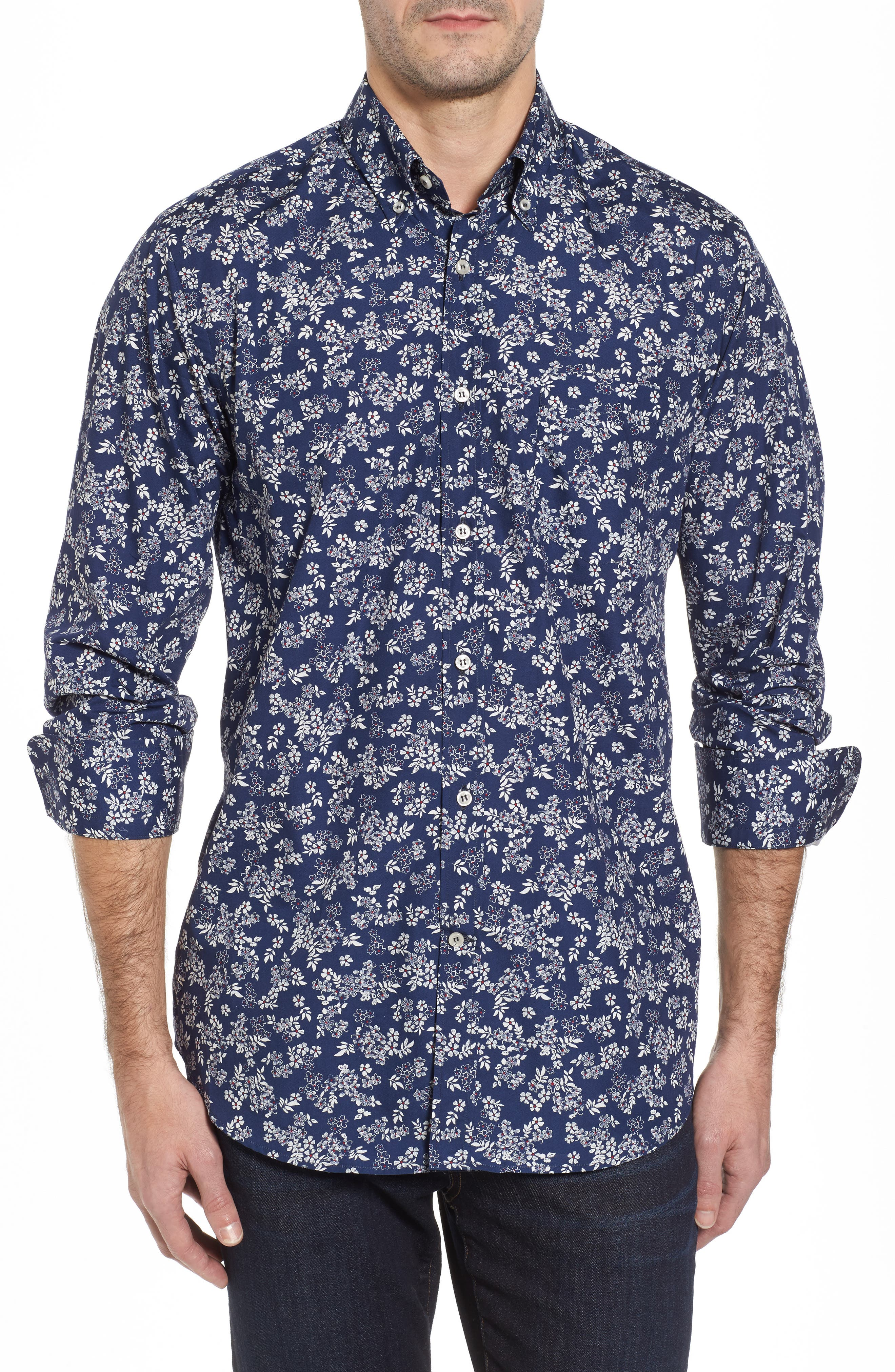 Main Image - Paul & Shark Regular Fit Flower Print Sport Shirt