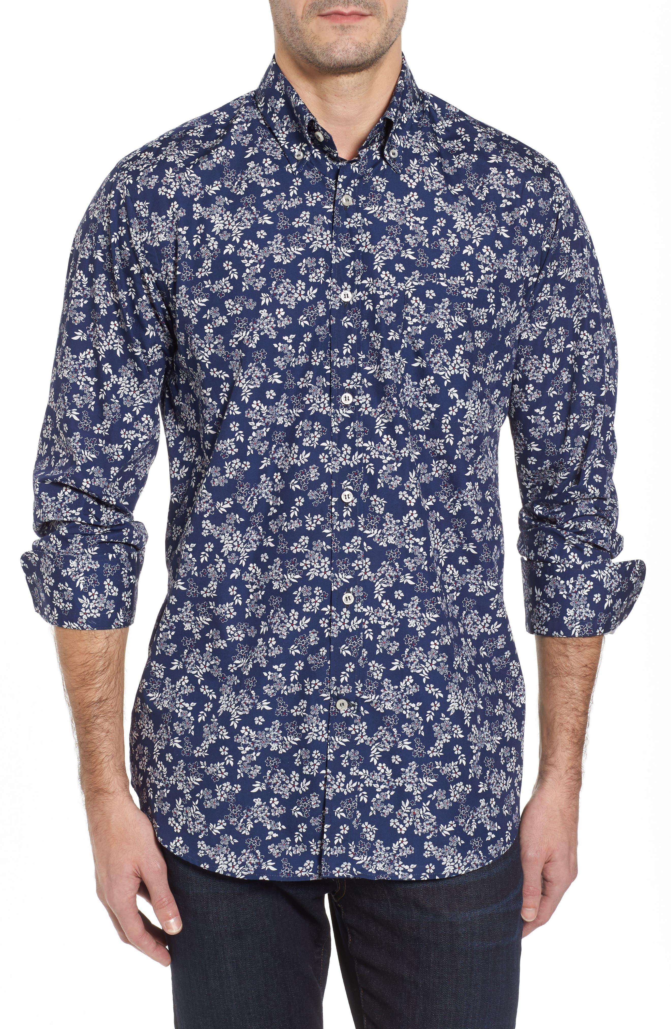 Paul&Shark Regular Fit Flower Print Sport Shirt,                         Main,                         color, Navy