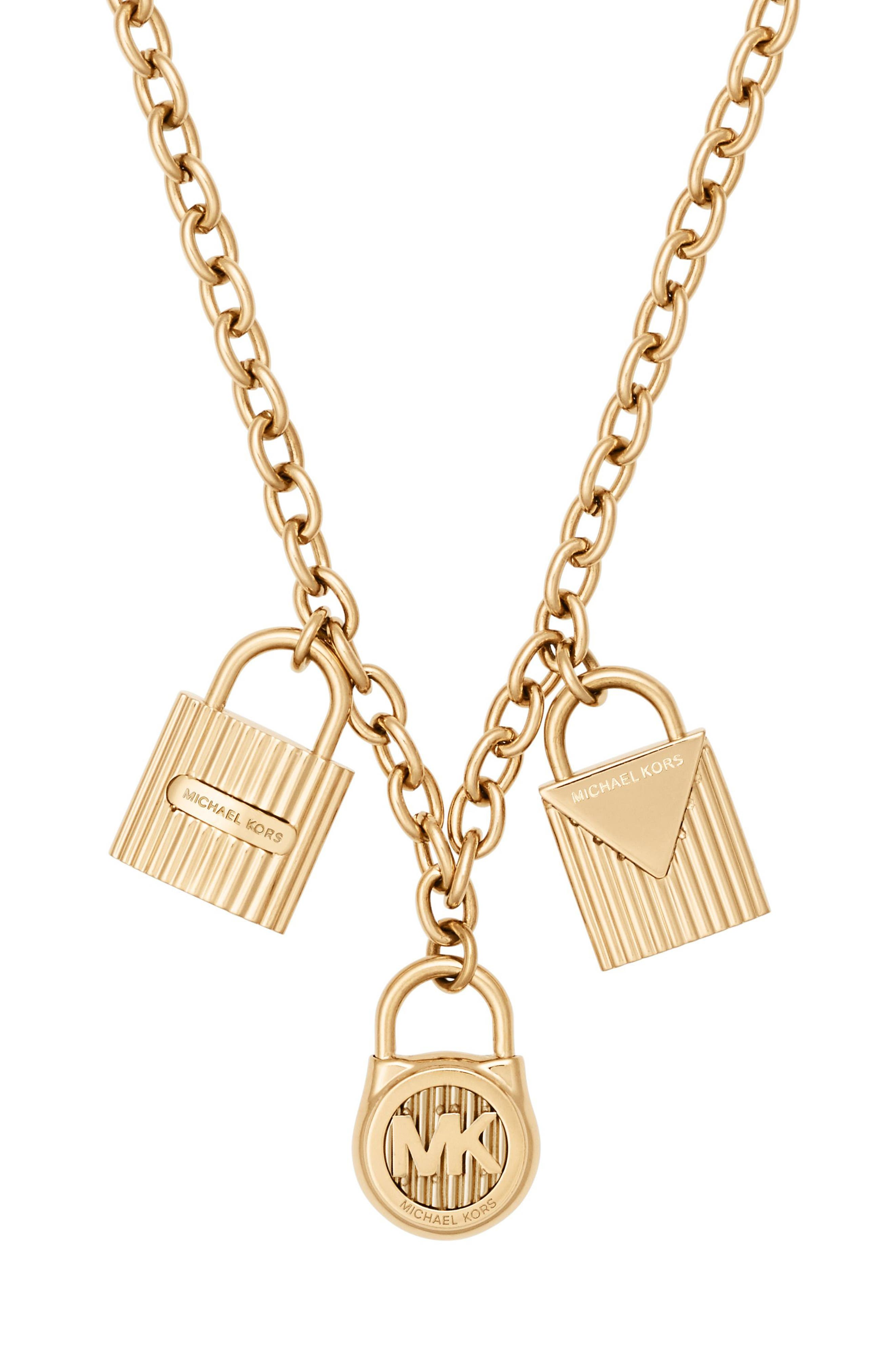 Padlock Charm Pendant Necklace,                             Alternate thumbnail 2, color,                             Gold