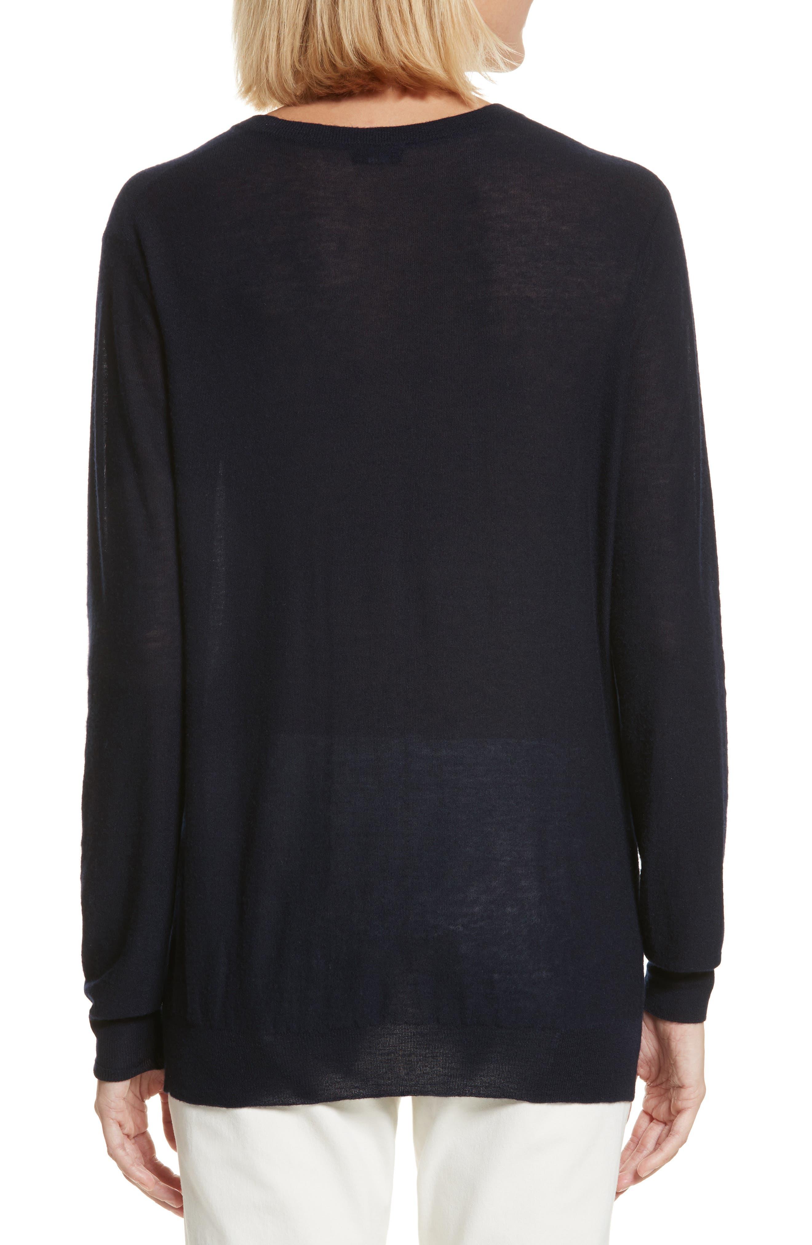 V-Neck Cashair Cashmere Sweater,                             Alternate thumbnail 2, color,                             Navy