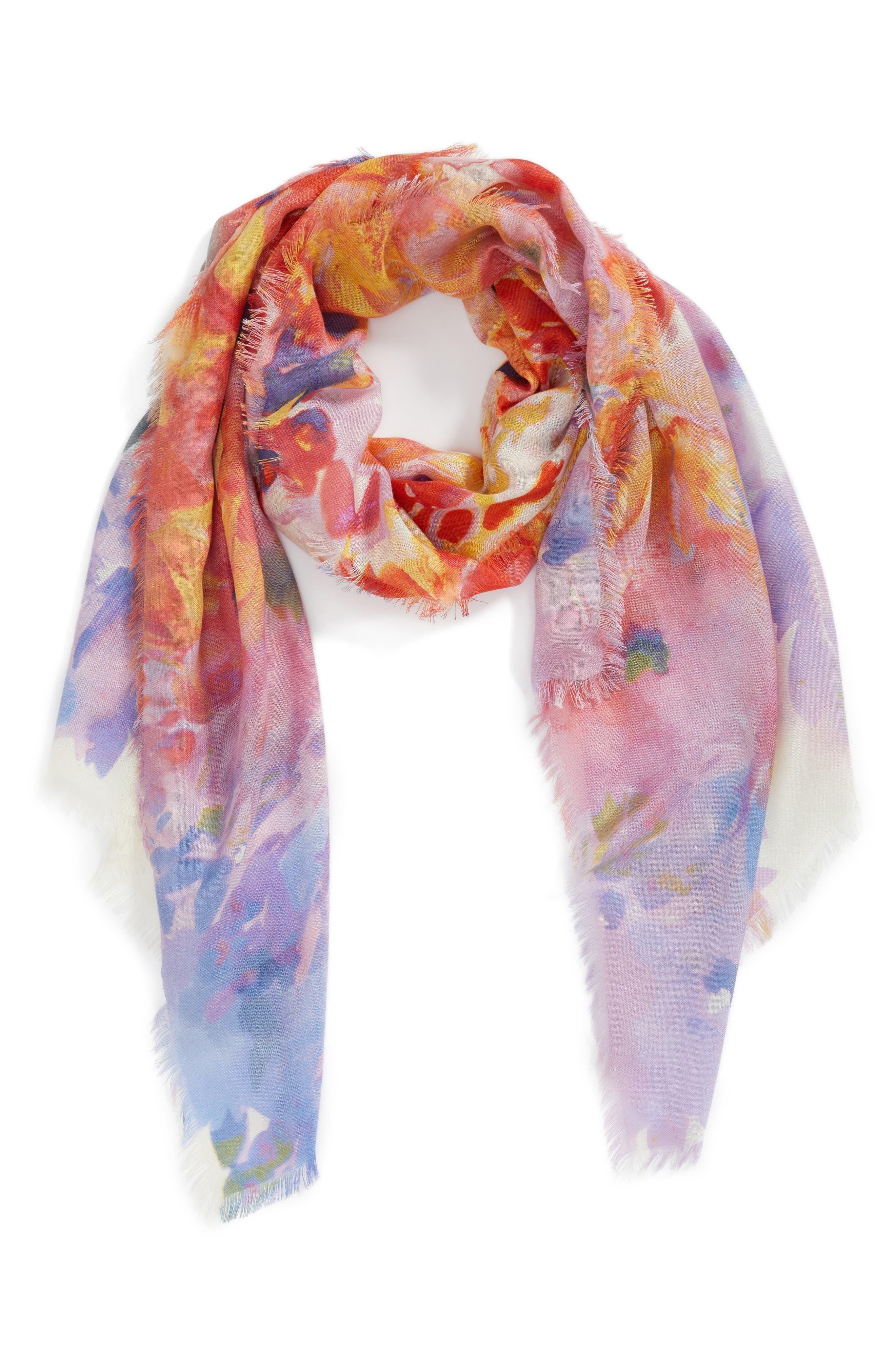 Eyelash Trim Print Cashmere & Silk Wrap,                             Alternate thumbnail 2, color,                             Red Floral Oasis