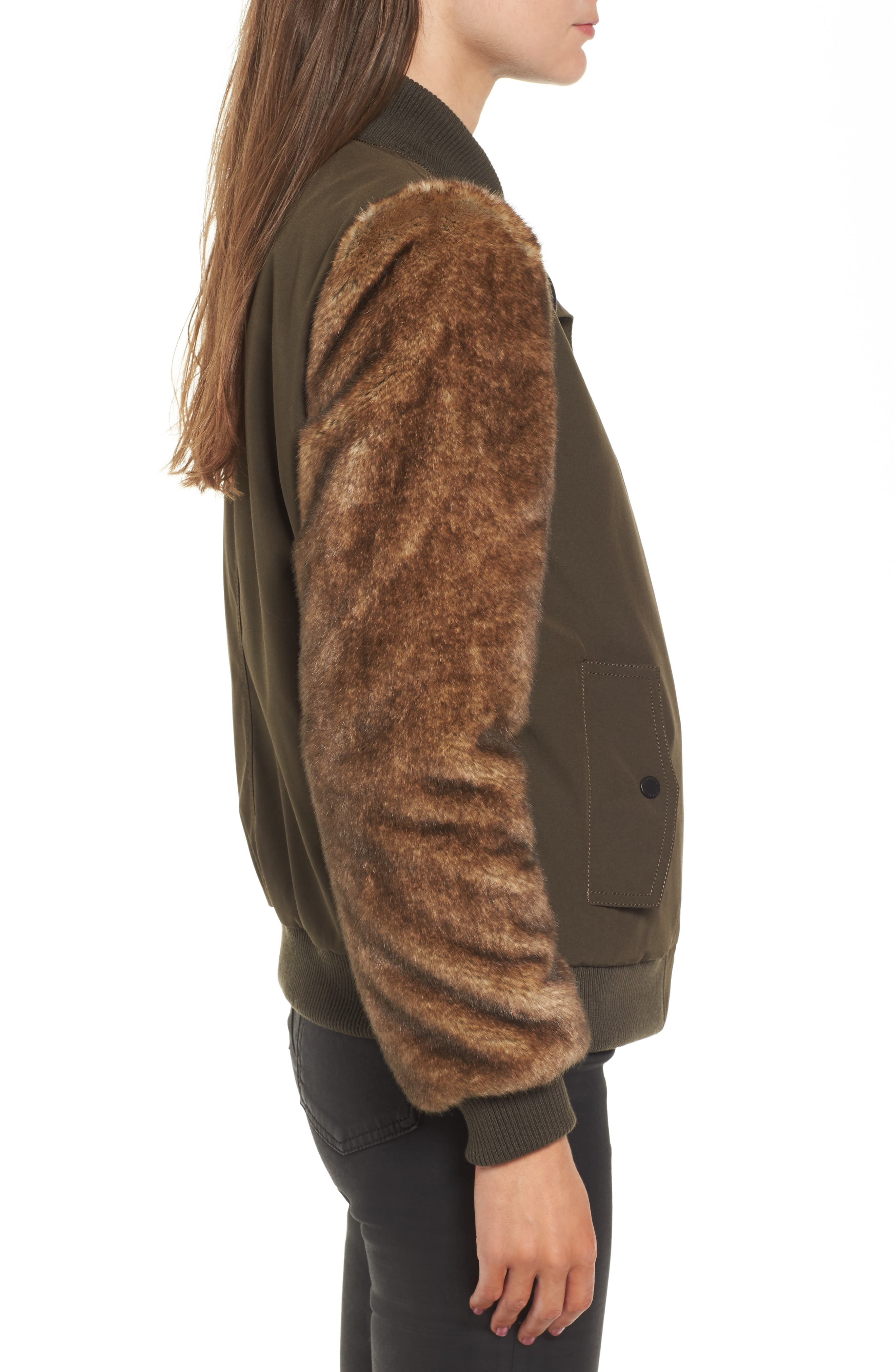 Faux Fur Sleeve Bomber Jacket,                             Alternate thumbnail 3, color,                             Army Green