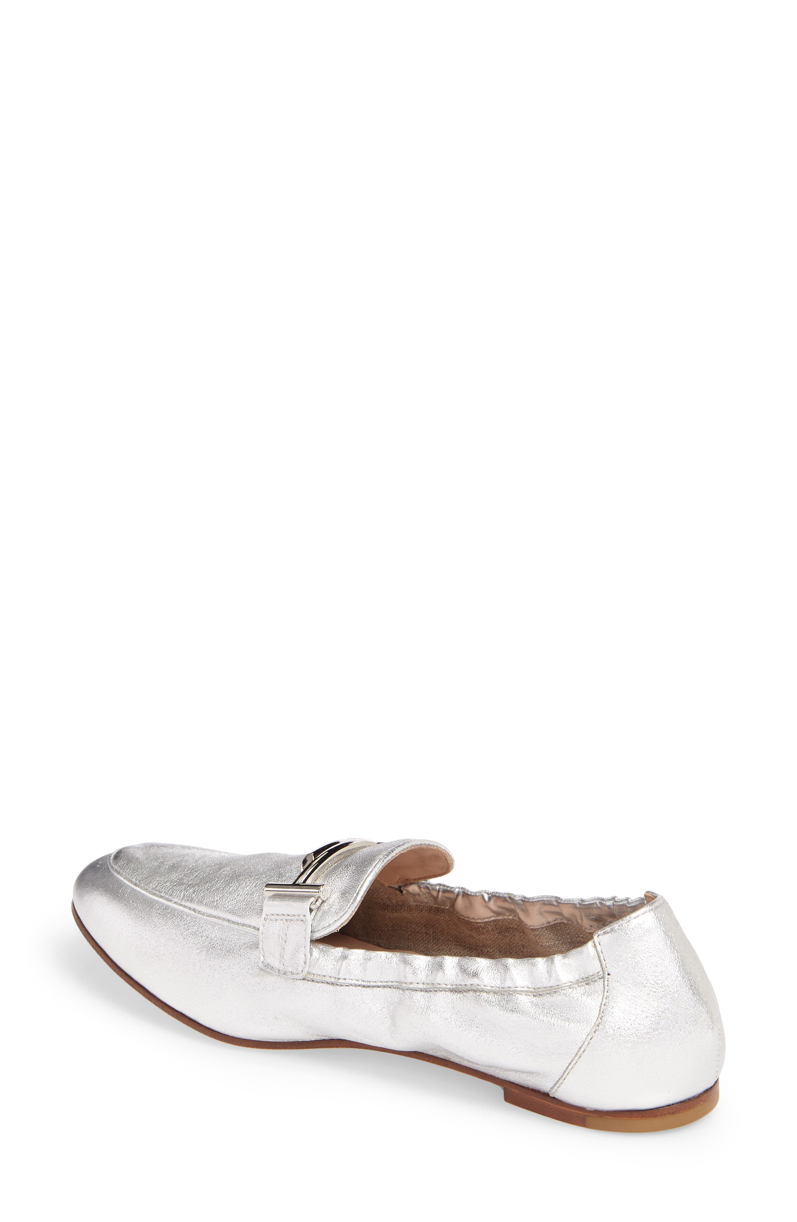 Double T Scrunch Loafer,                             Alternate thumbnail 2, color,                             Silver