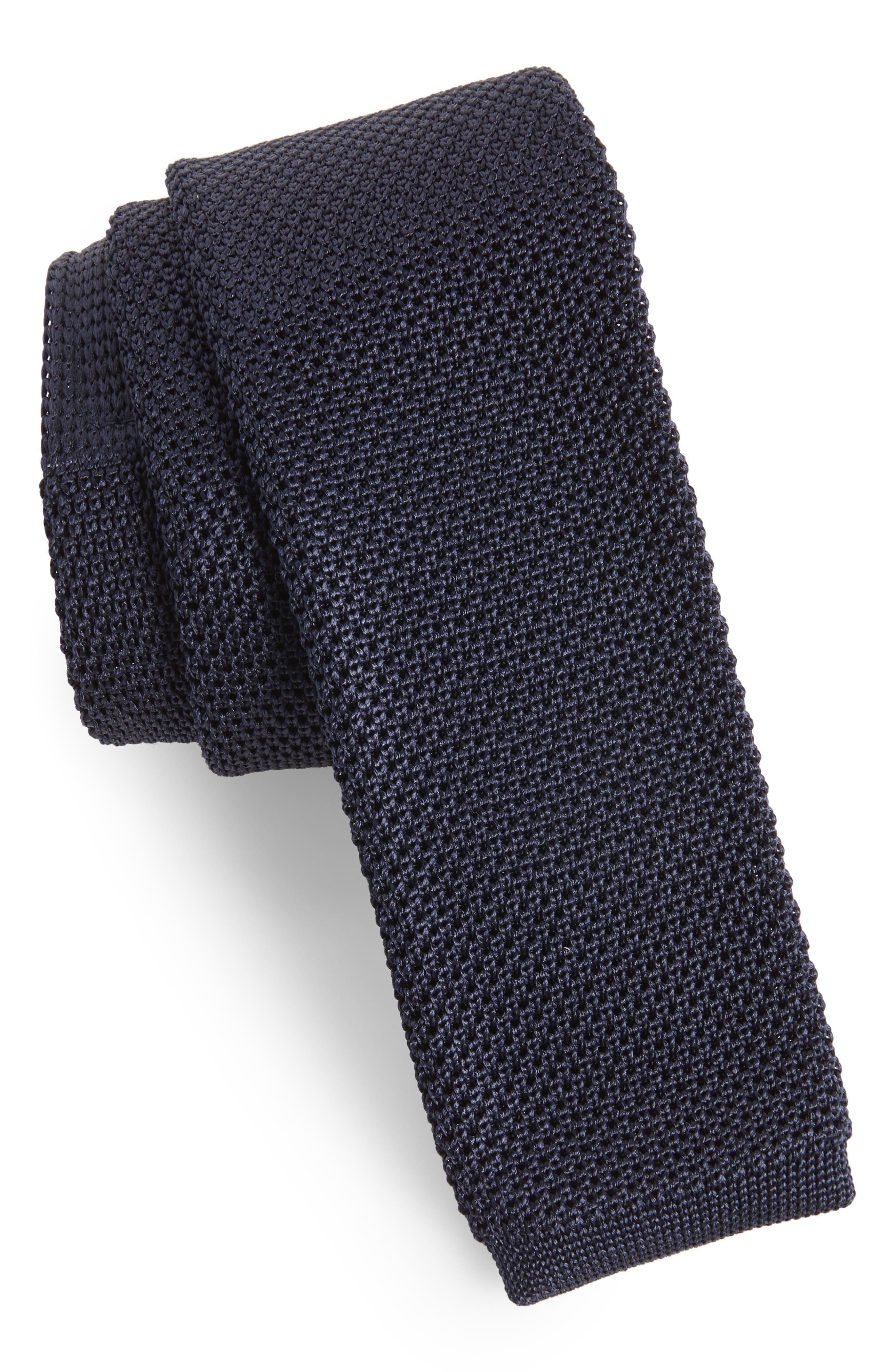 Birdseye Knit Silk Skinny Tie,                         Main,                         color, Navy