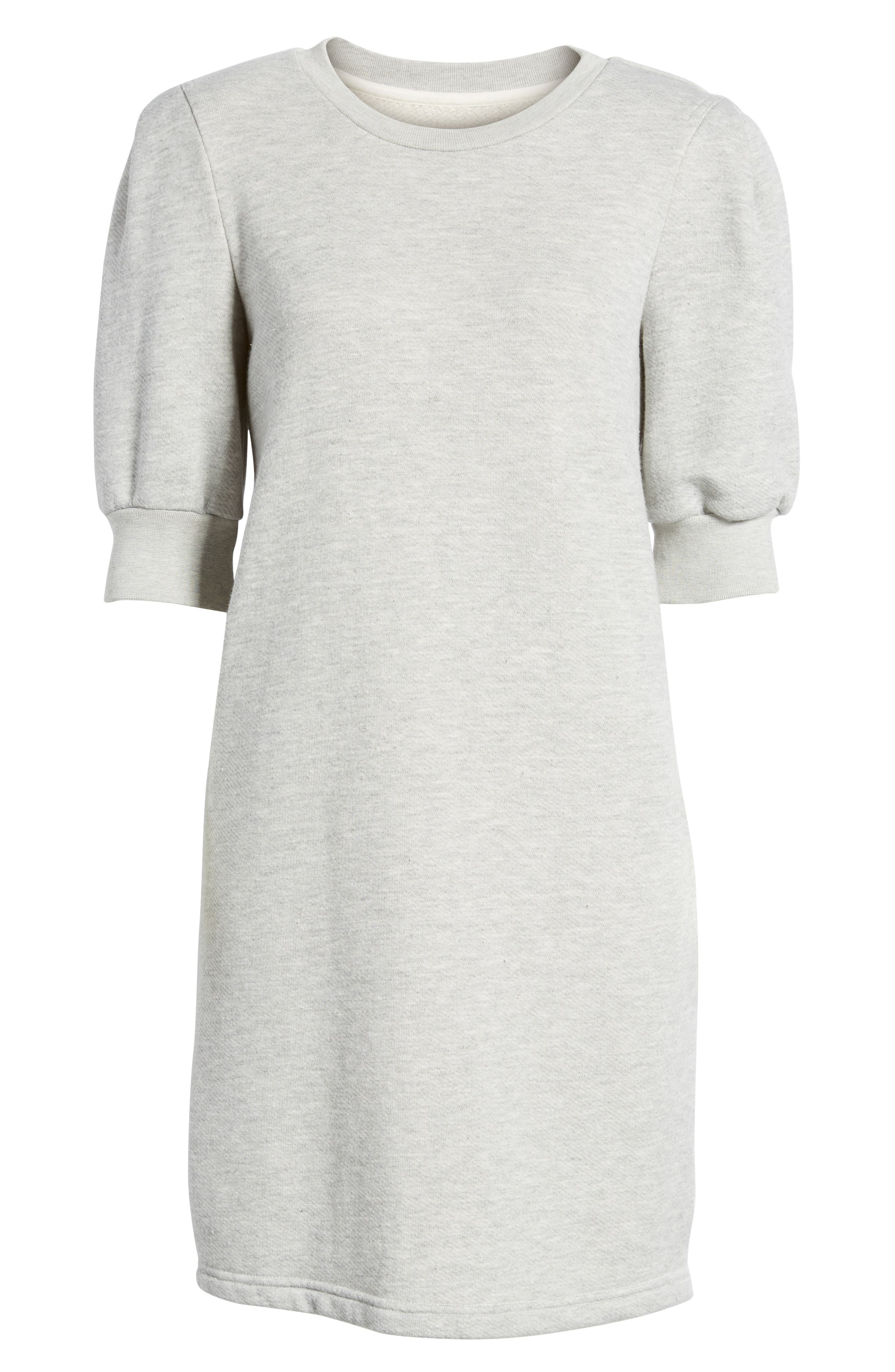 The Pleat Sweatshirt Dress,                             Alternate thumbnail 6, color,                             Light Heather Grey Terry